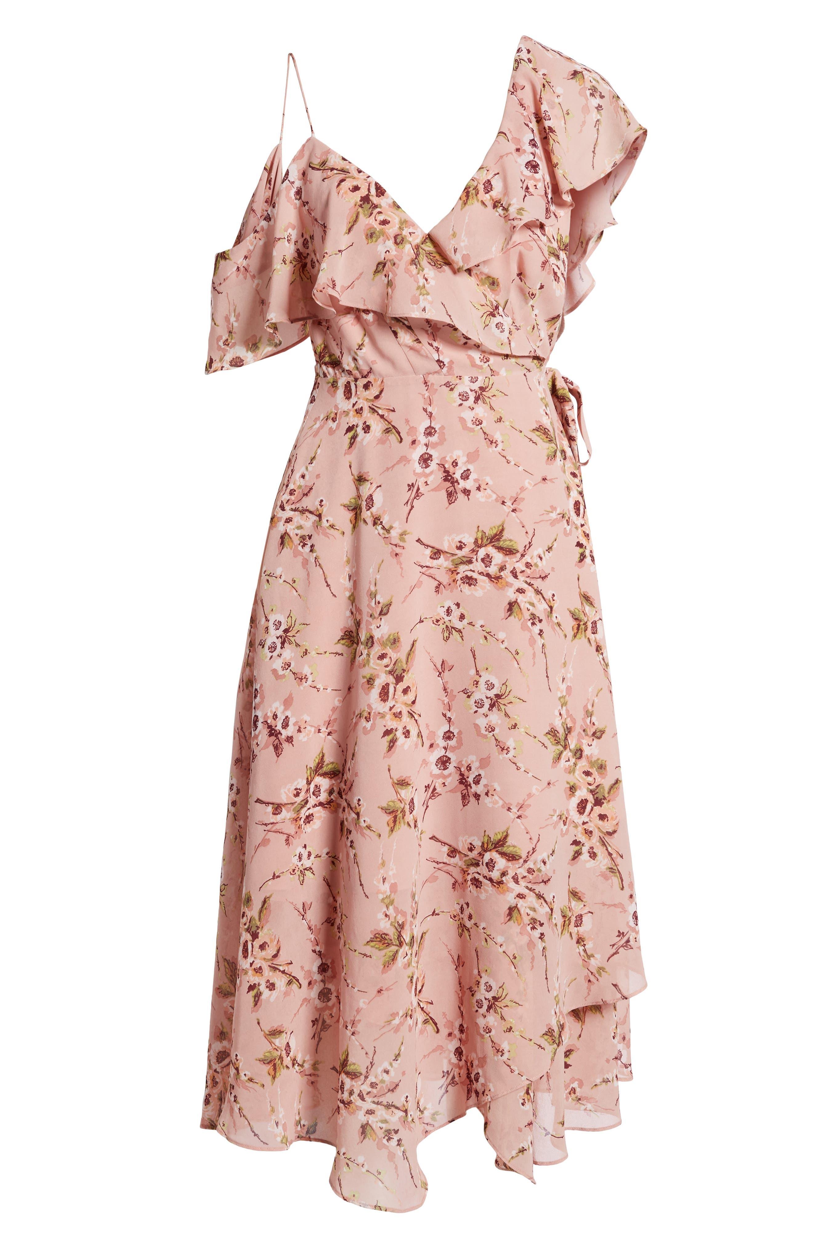 Jenna Asymmetrical Wrap Dress,                             Alternate thumbnail 6, color,                             Pomegranate Floral