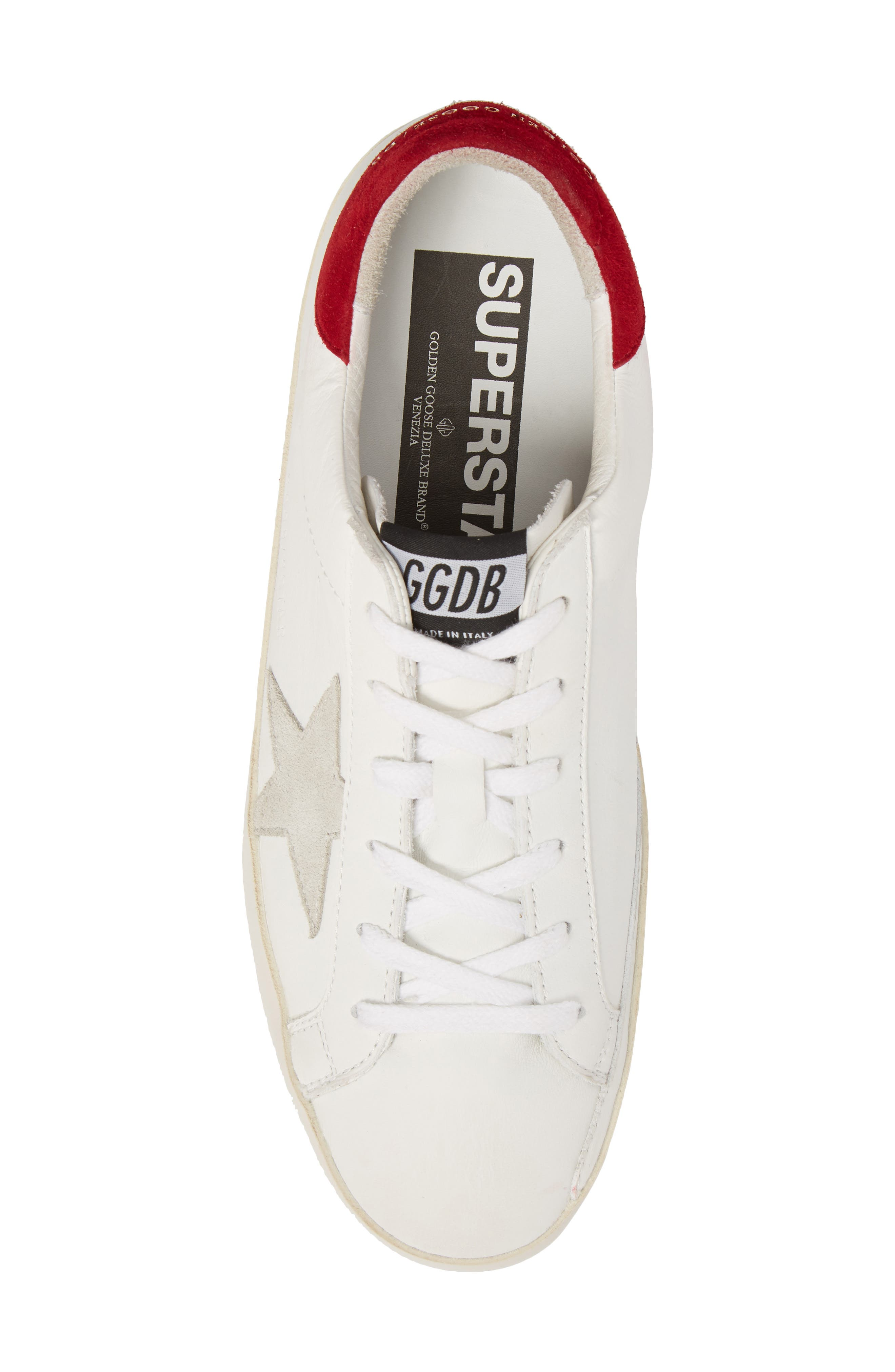 Superstar Low Top Sneaker,                             Alternate thumbnail 5, color,                             White/ Bordeaux