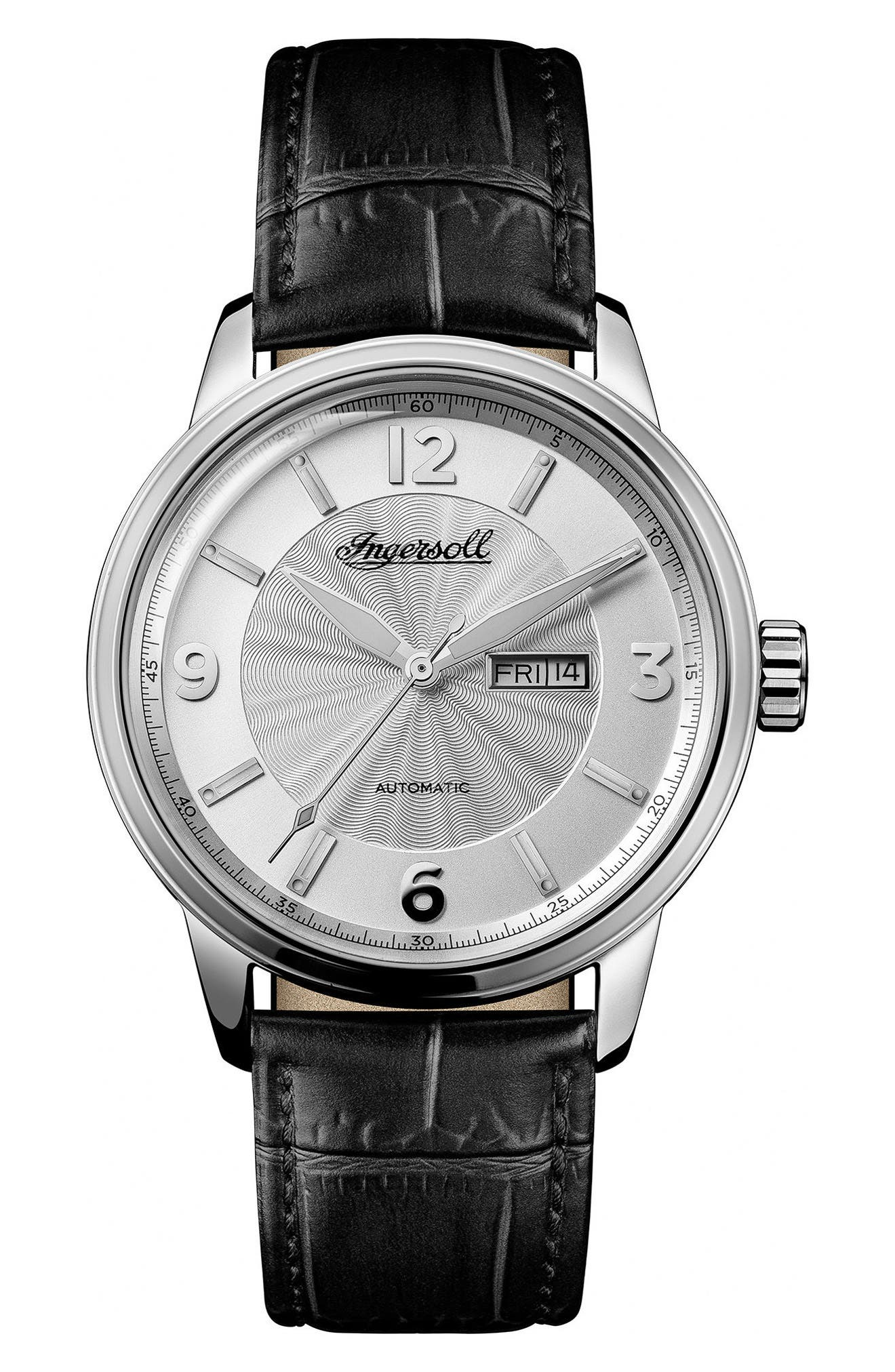 Ingersoll Regent Automatic Leather Strap Watch,                             Main thumbnail 1, color,                             Black/ Silver