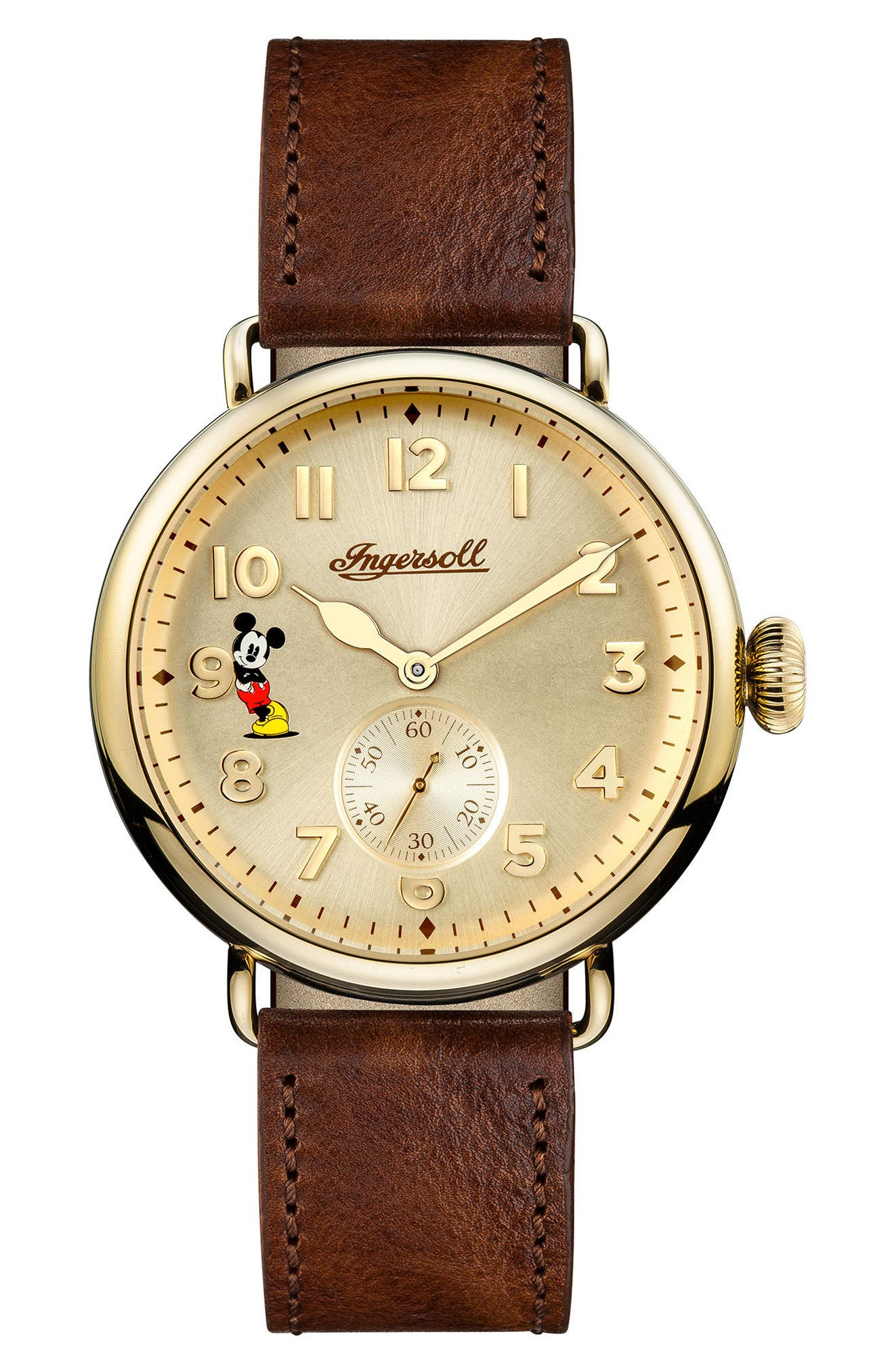 Ingersoll Trenton Disney Leather Strap Watch, 44mm,                             Main thumbnail 1, color,                             Brown/ Cream/ Gold