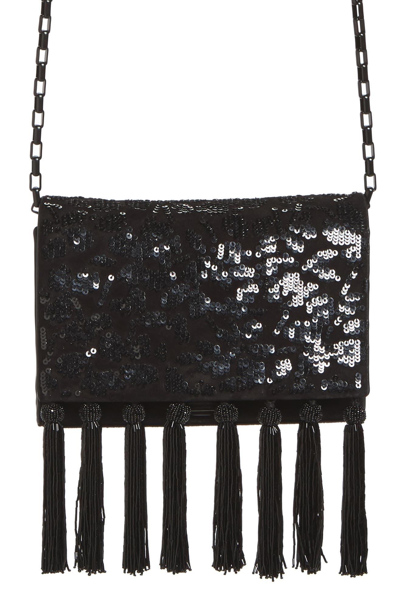 Yasmeen Sequin & Tassel Suede Clutch,                         Main,                         color, Black