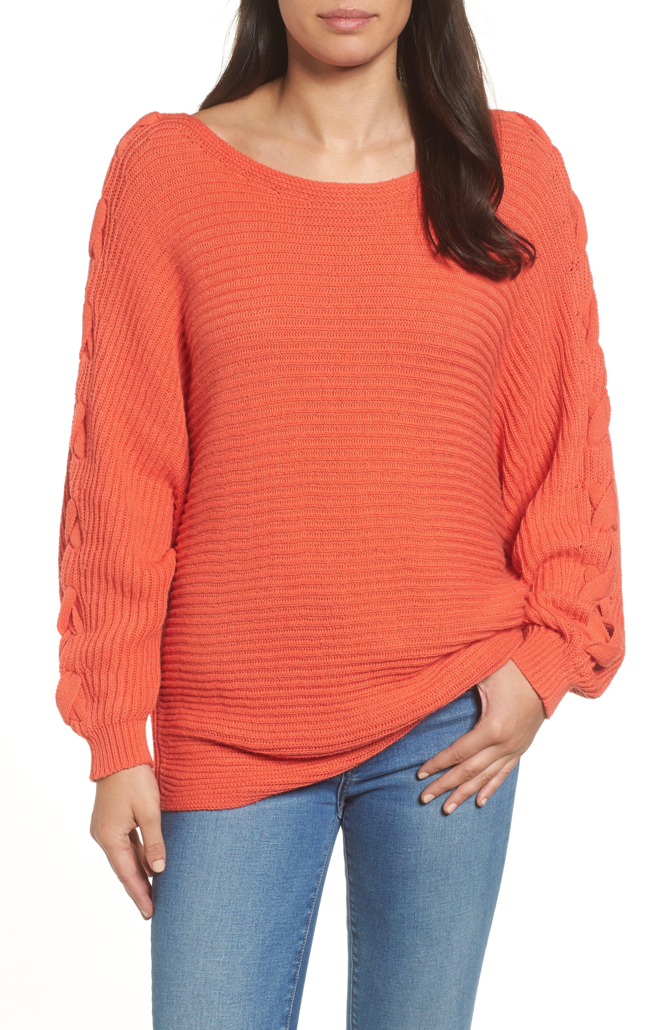Caslon® Lace-Up Sleeve Sweater (Regular & Petite)