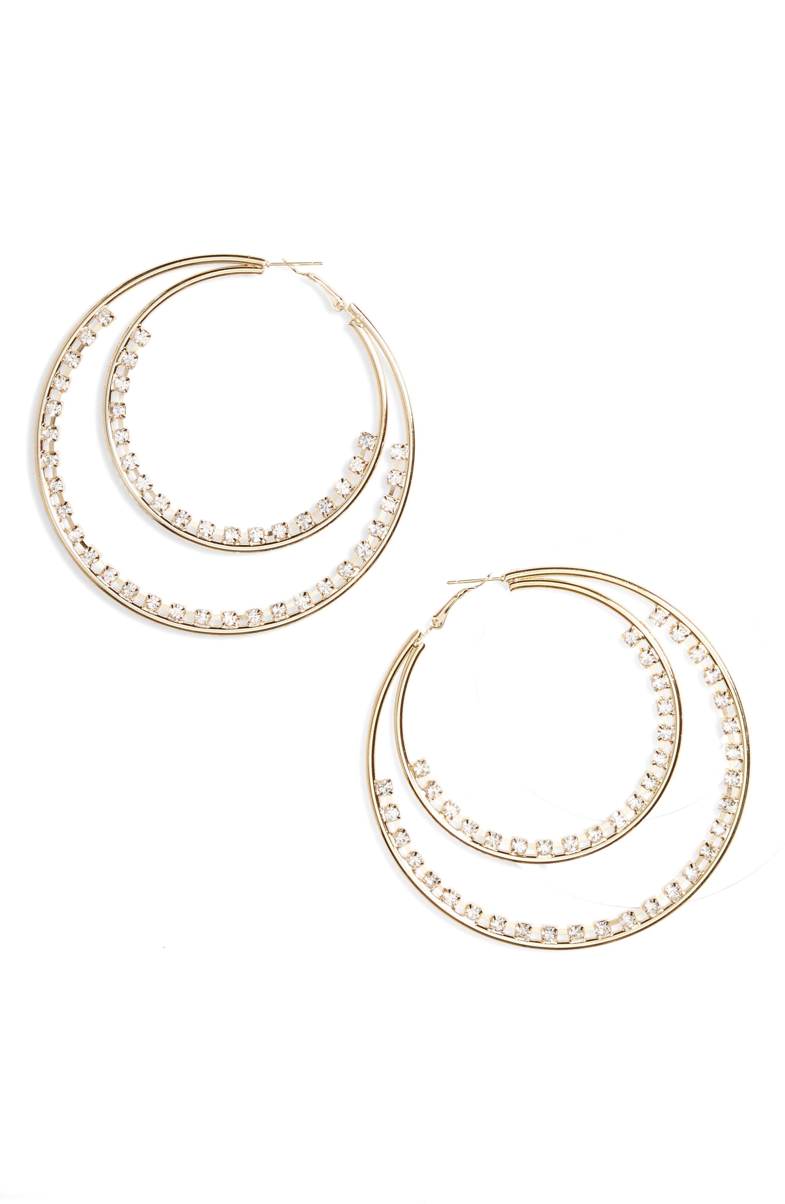 Main Image - Natasha Row Crystal Double Hoop Earrings