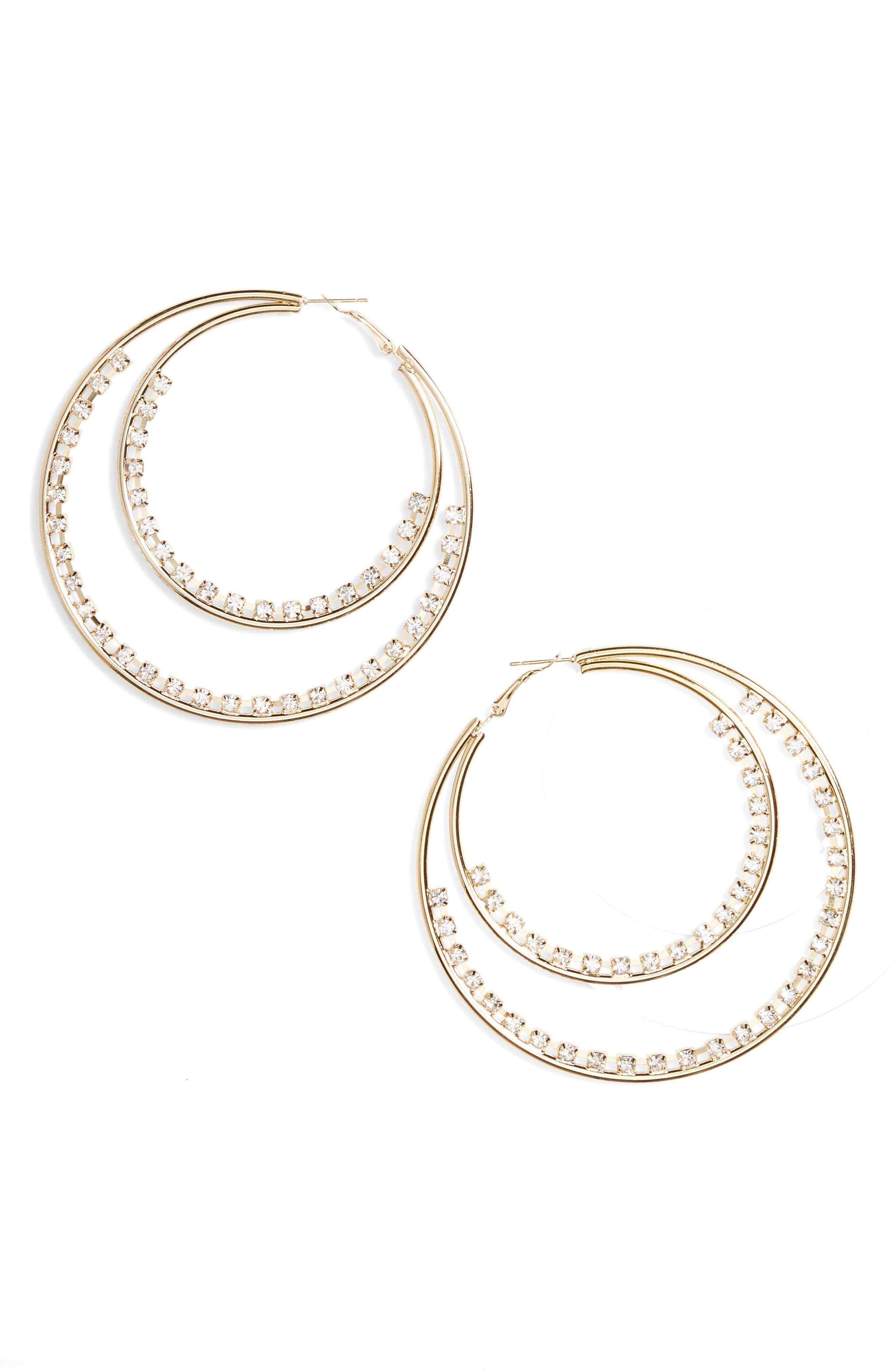 Natasha Row Crystal Double Hoop Earrings