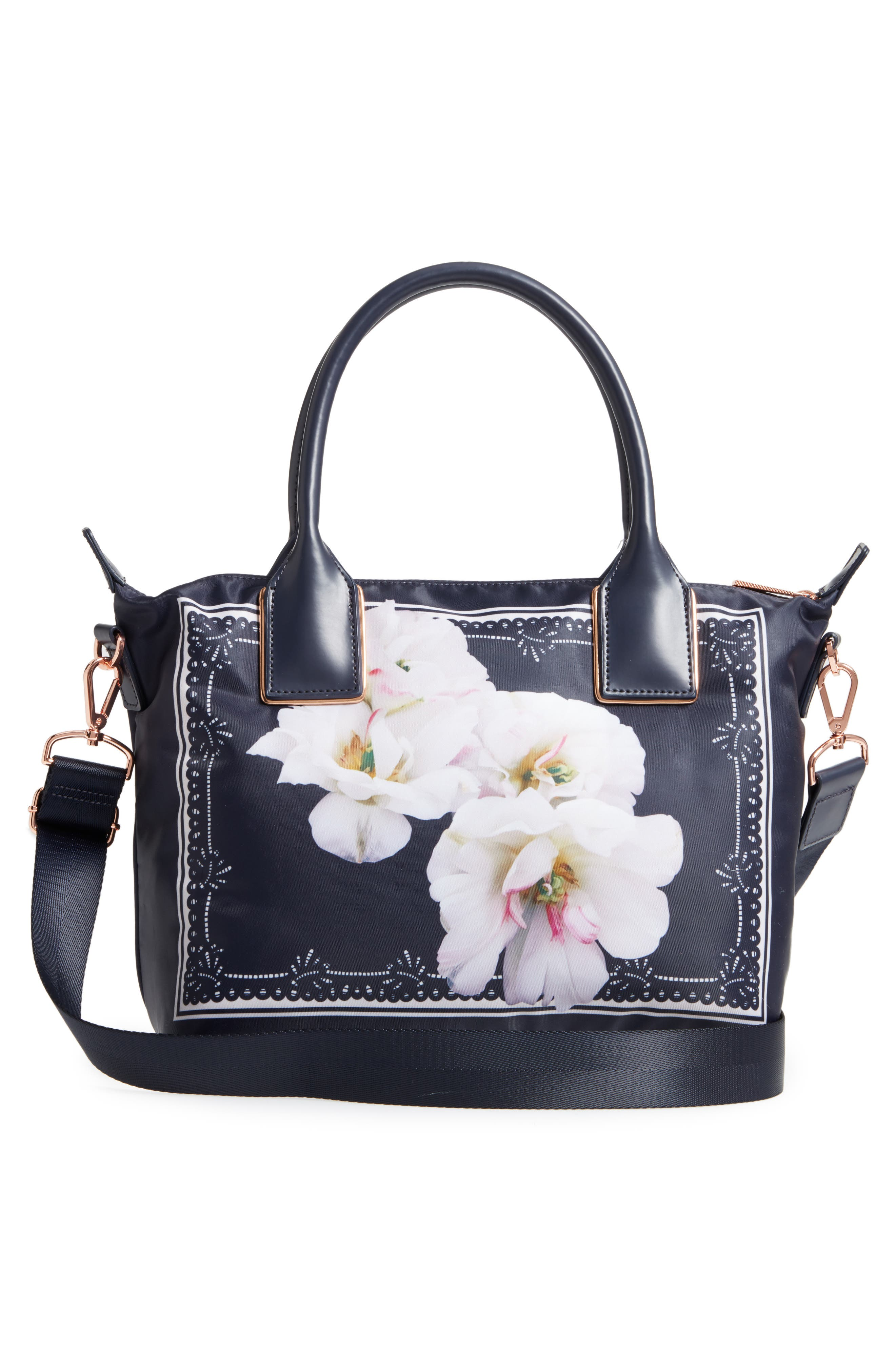 Small Kimhas Gardenia Tote,                             Alternate thumbnail 3, color,                             Dark Blue