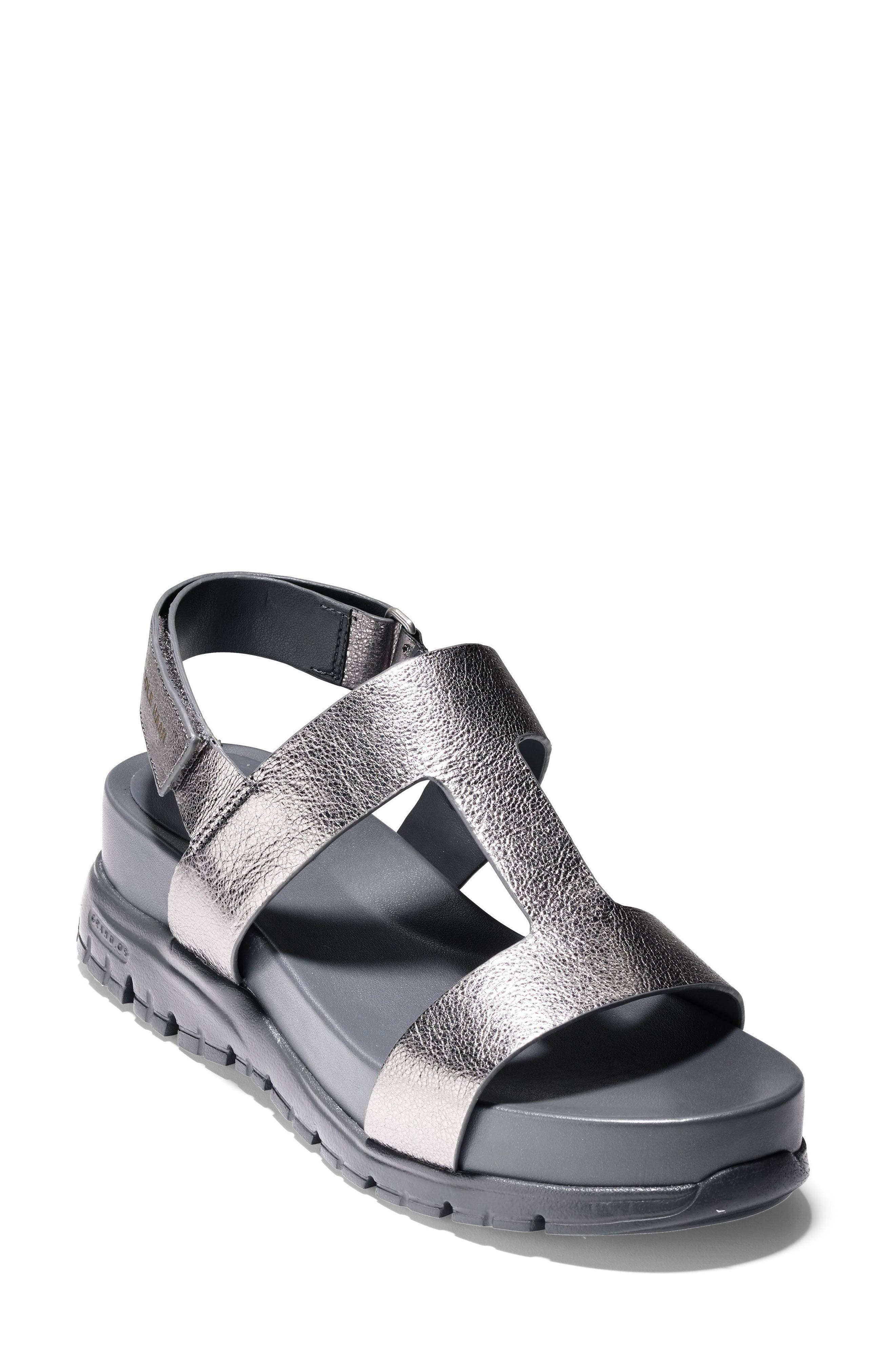 ZeroGrand T-Strap Sandal,                             Main thumbnail 1, color,                             Anthracite Metallic Leather