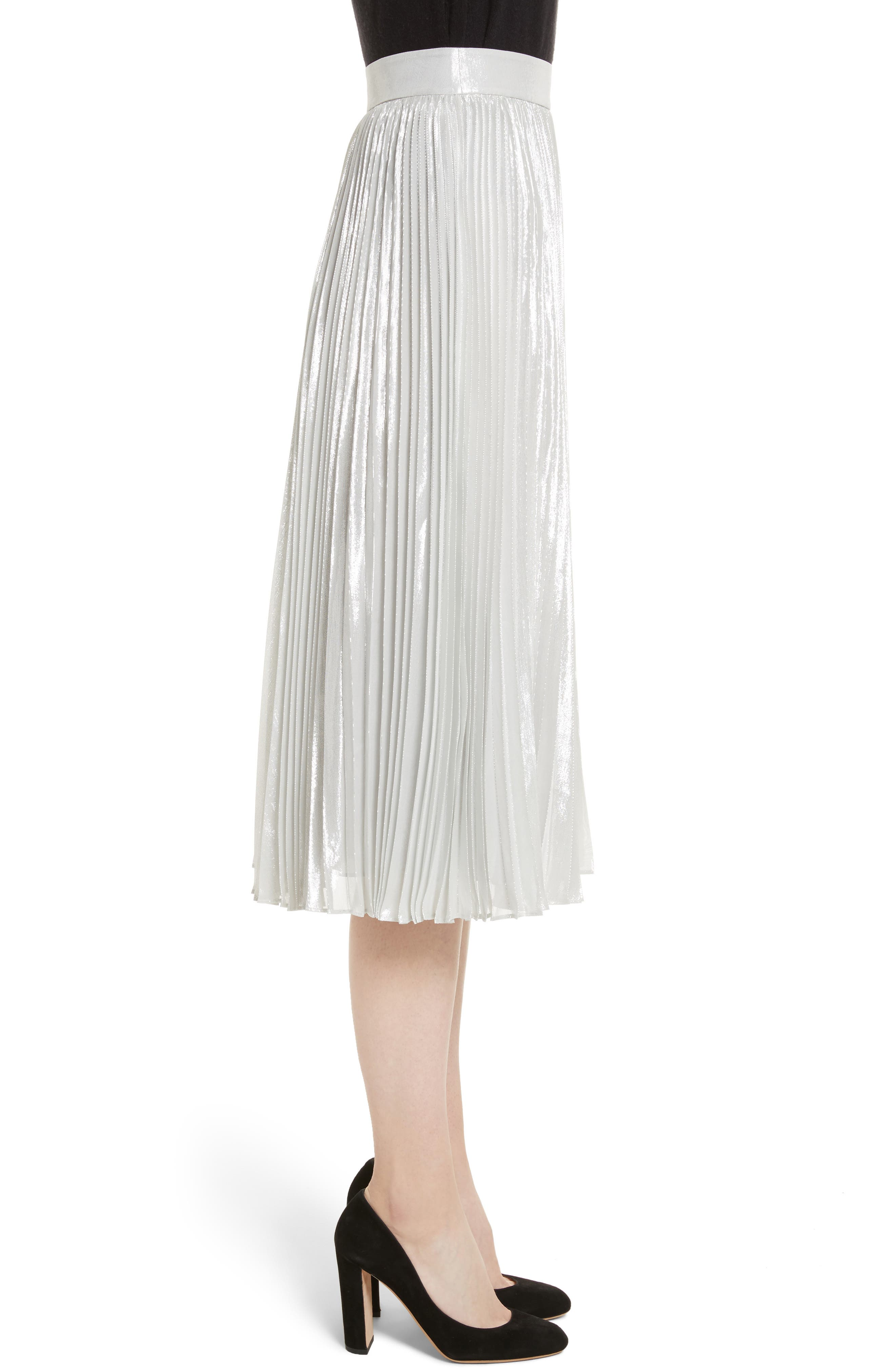 metallic pleat midi skirt,                             Alternate thumbnail 3, color,                             Silver