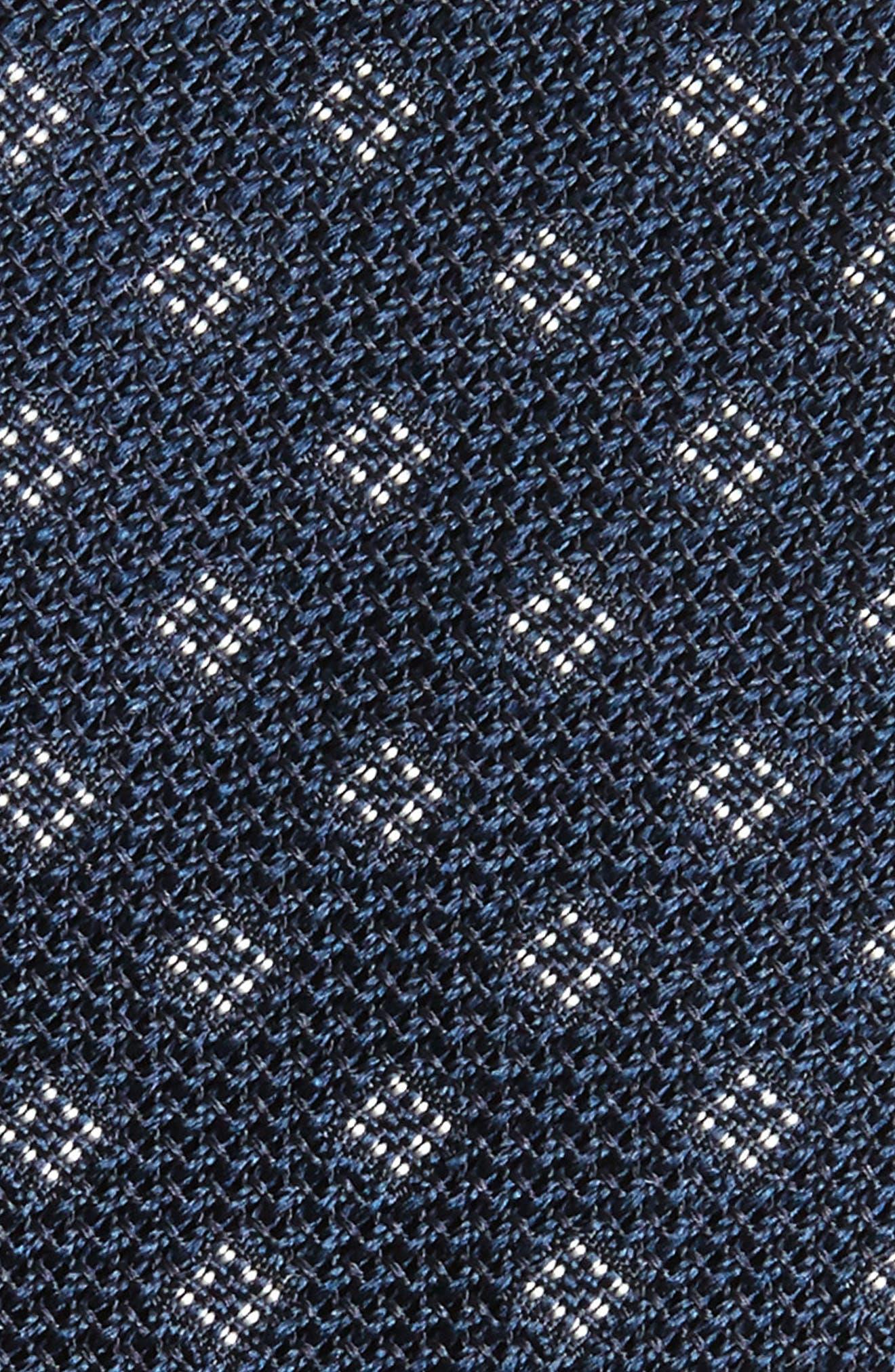 Medallion Silk Skinny Tie,                             Alternate thumbnail 2, color,                             Navy/ White