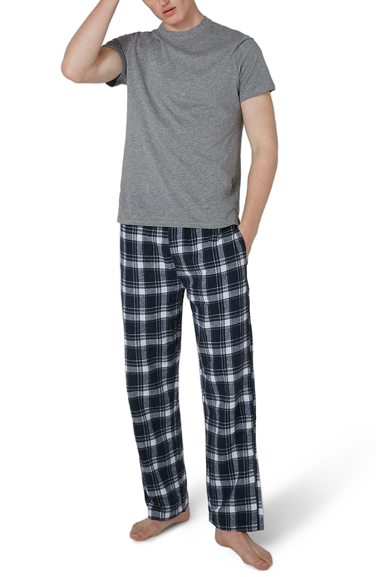 Check Pajama Set,                             Main thumbnail 1, color,                             Dark Blue