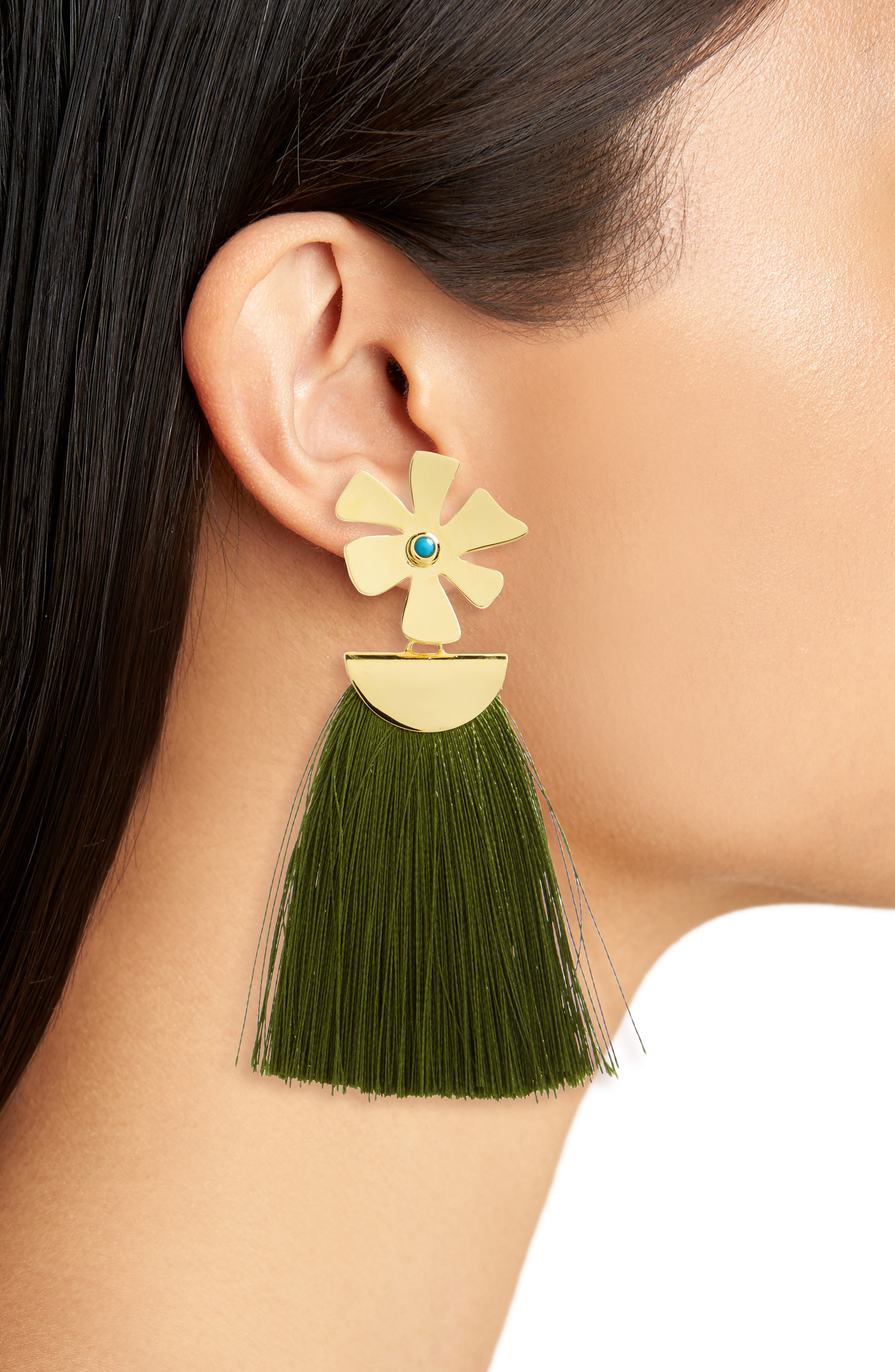 Lizze Fortunato Daisy Crater Drop Earrings,                             Alternate thumbnail 2, color,                             Green/ Gold