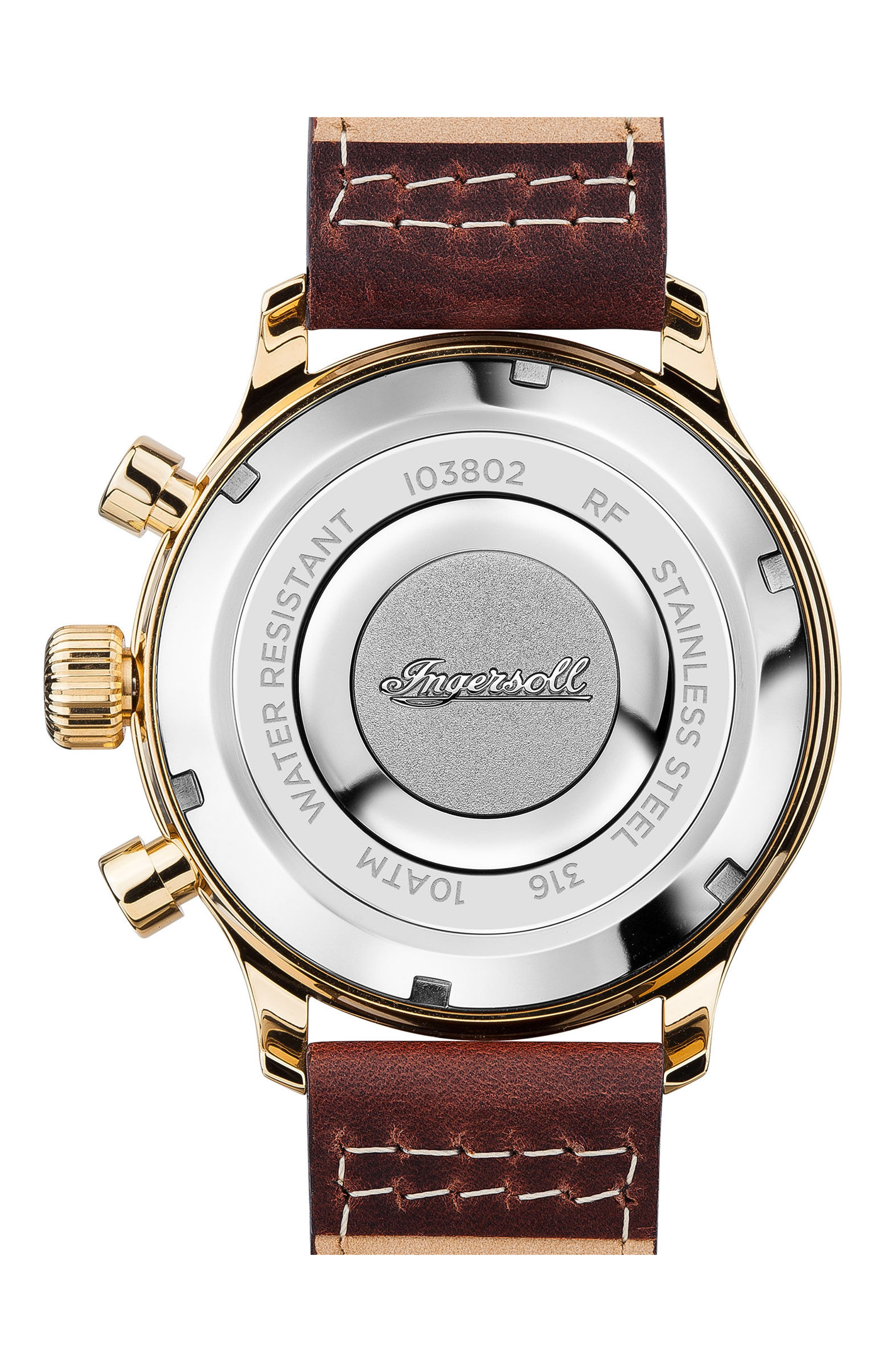 Alternate Image 2  - Ingersoll Apsley Chronograph Leather Strap Watch, 45mm