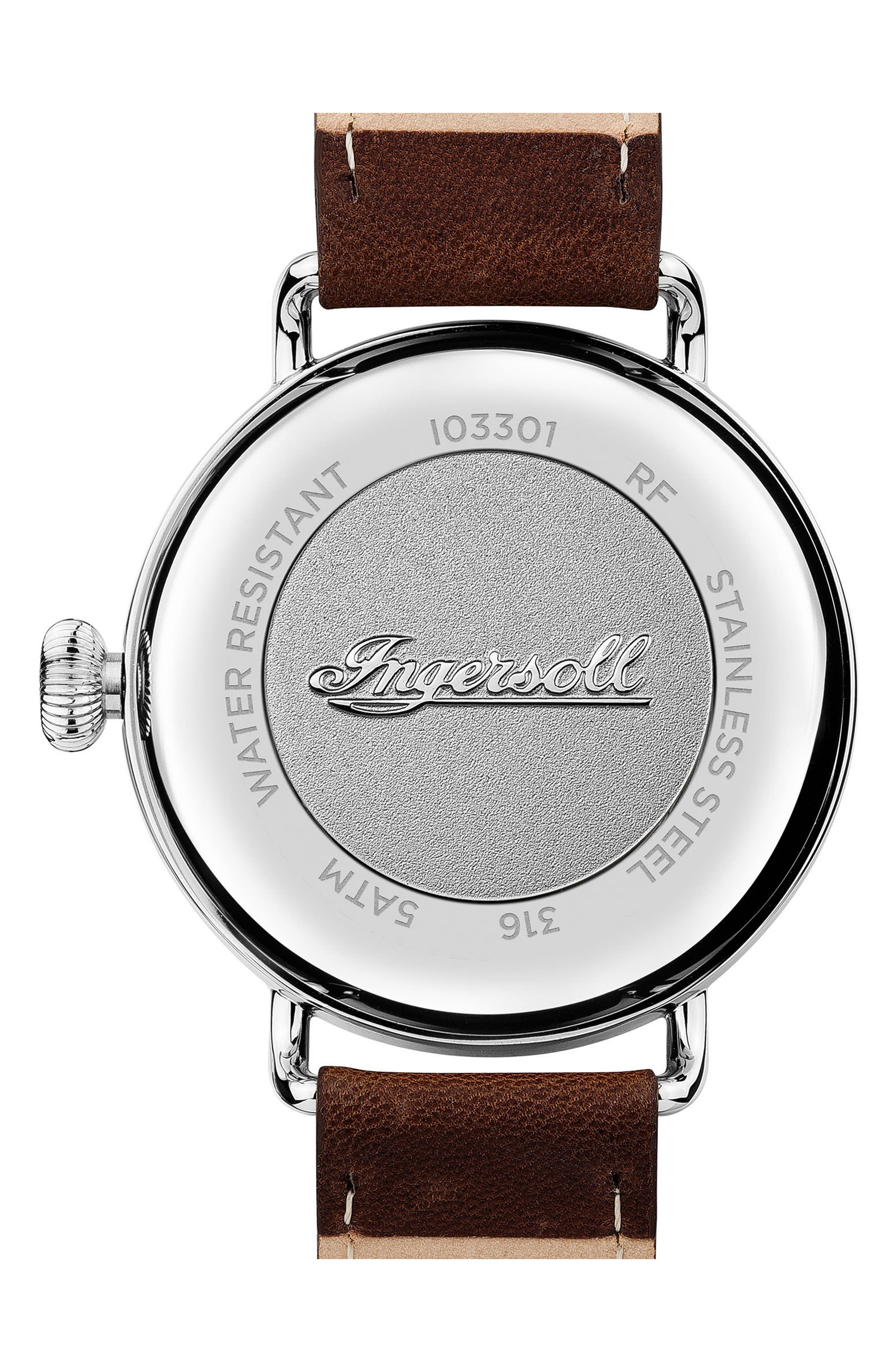 Ingersoll Trenton Leather Strap Watch, 44mm,                             Alternate thumbnail 2, color,                             Brown/ Beige/ Silver