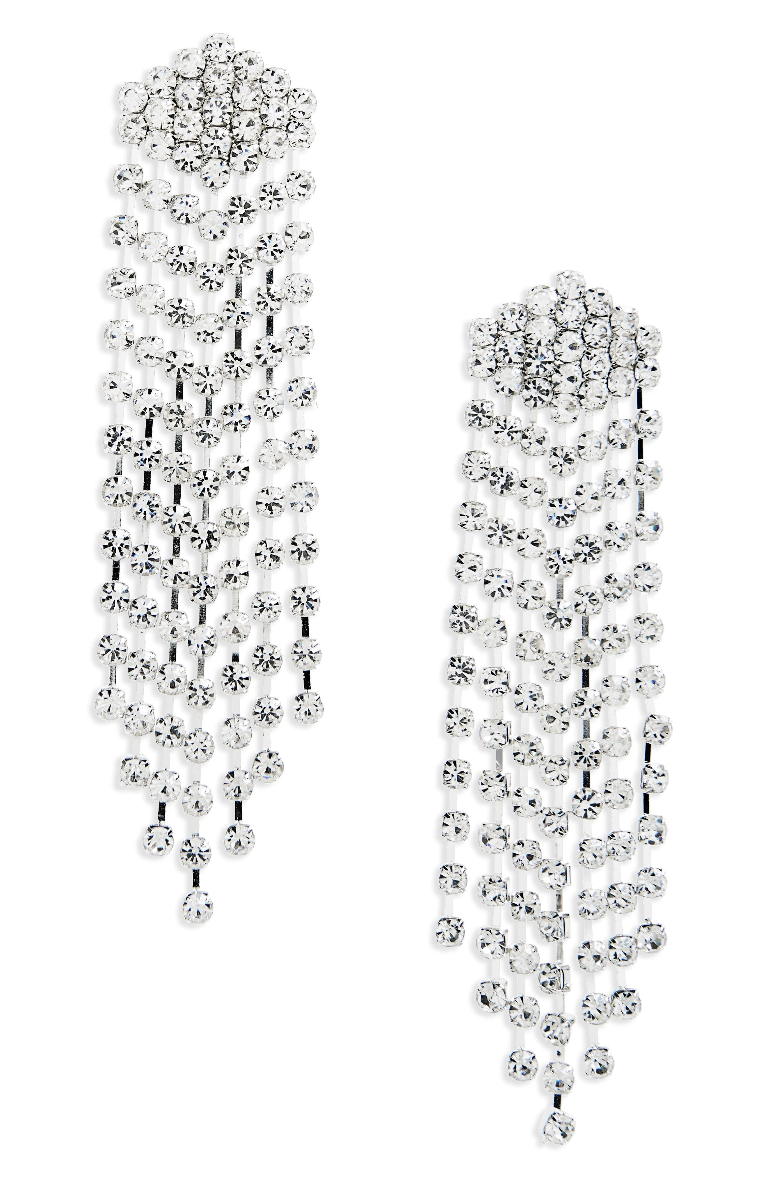 Crystal Chandelier Earrings,                             Main thumbnail 1, color,                             Silver/ Crystal