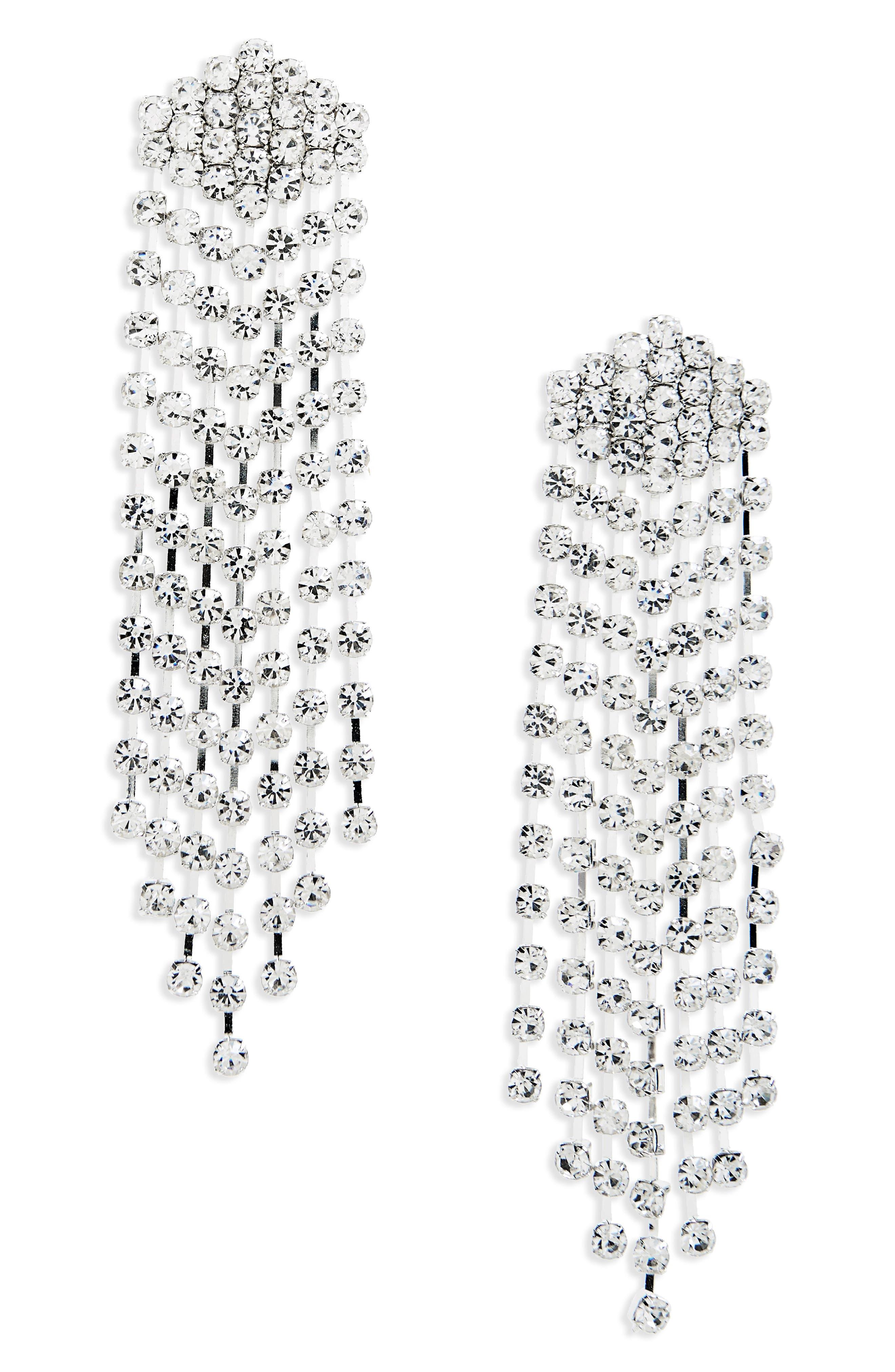 Crystal Chandelier Earrings,                         Main,                         color, Silver/ Crystal