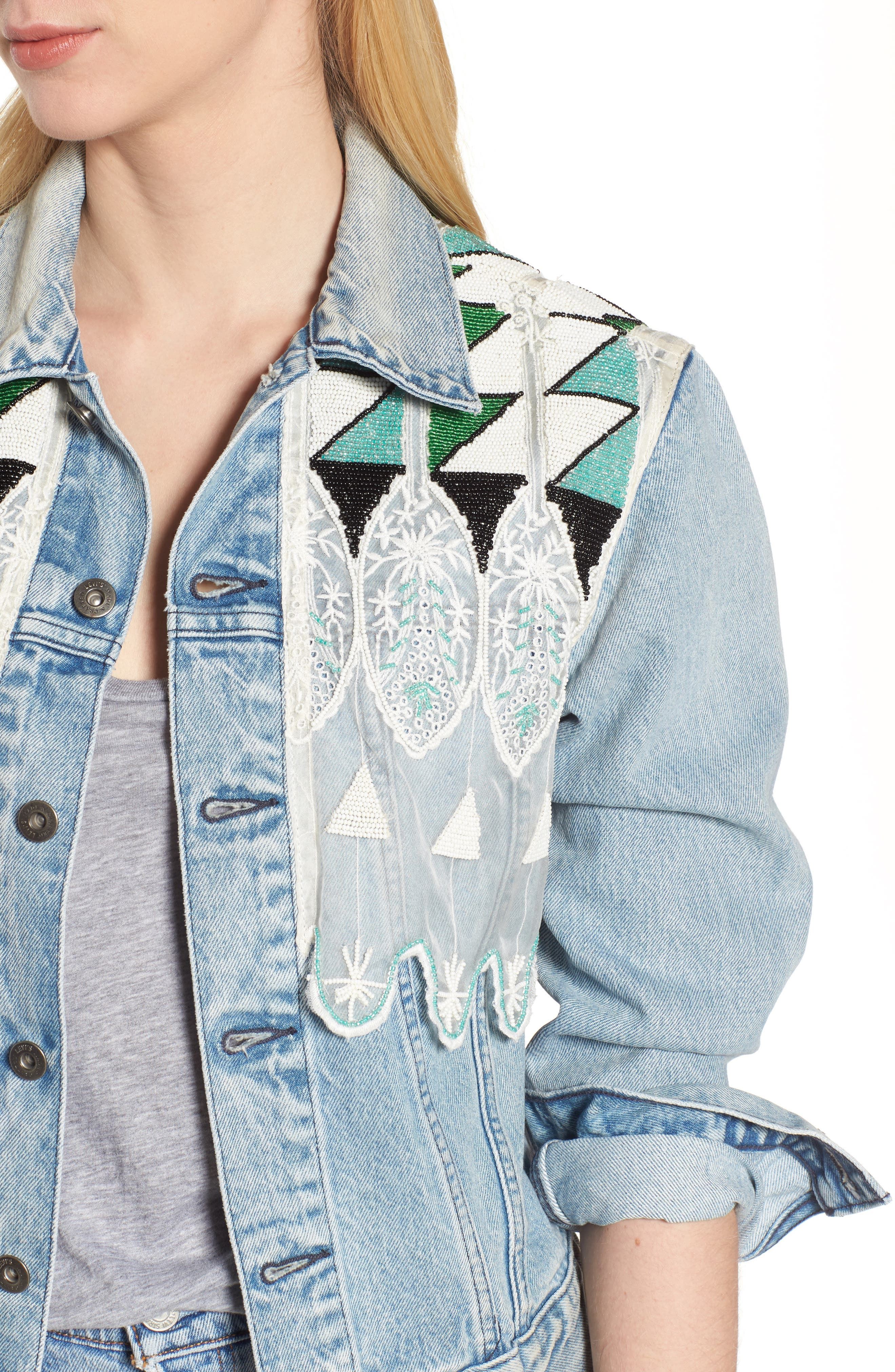 Embellished Boyfriend Trucker Jacket,                             Alternate thumbnail 4, color,                             Tribal Embellishment