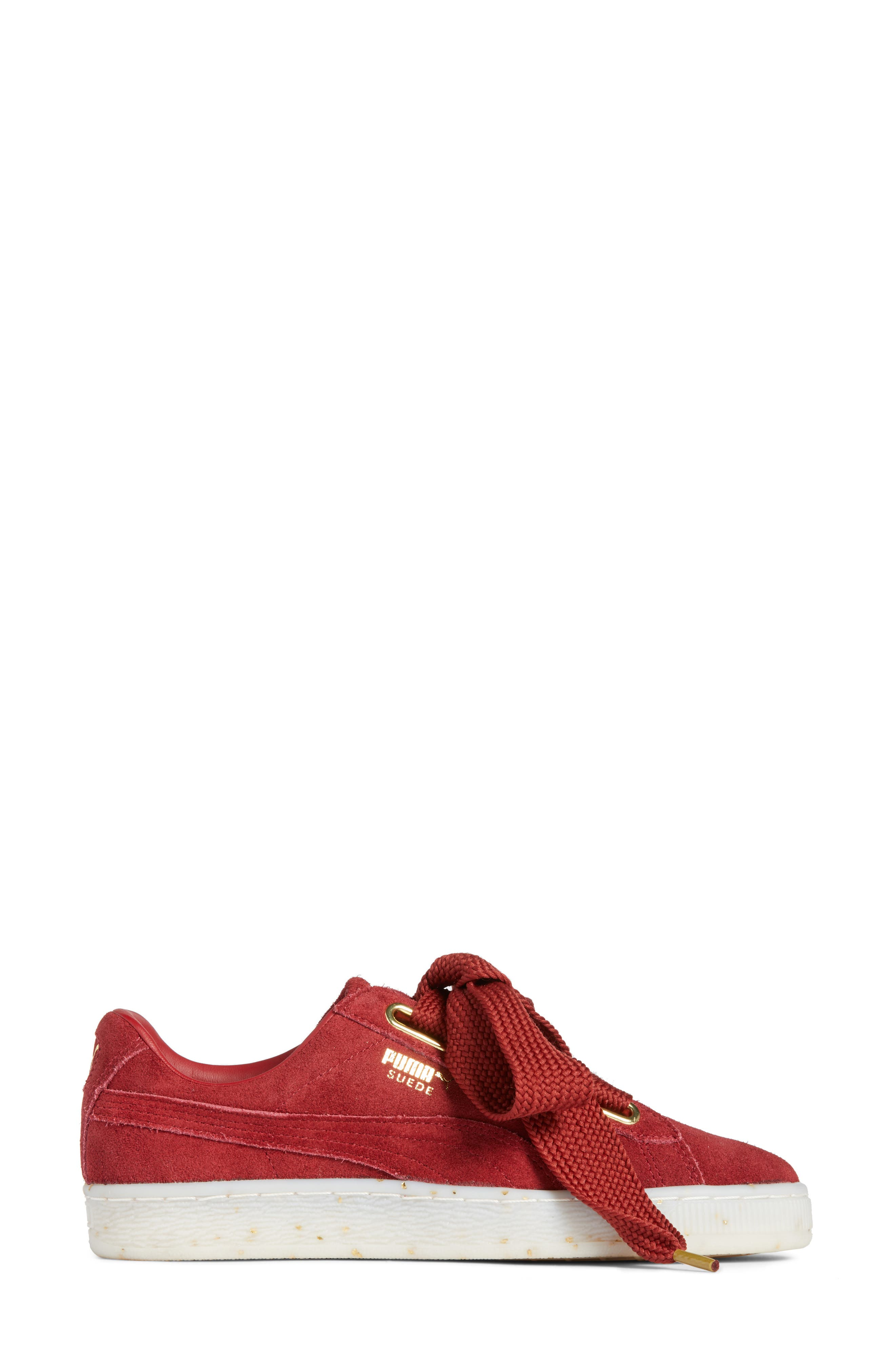Suede - Heart Sneaker,                             Alternate thumbnail 3, color,                             Red Dahlia/ Red Dahlia