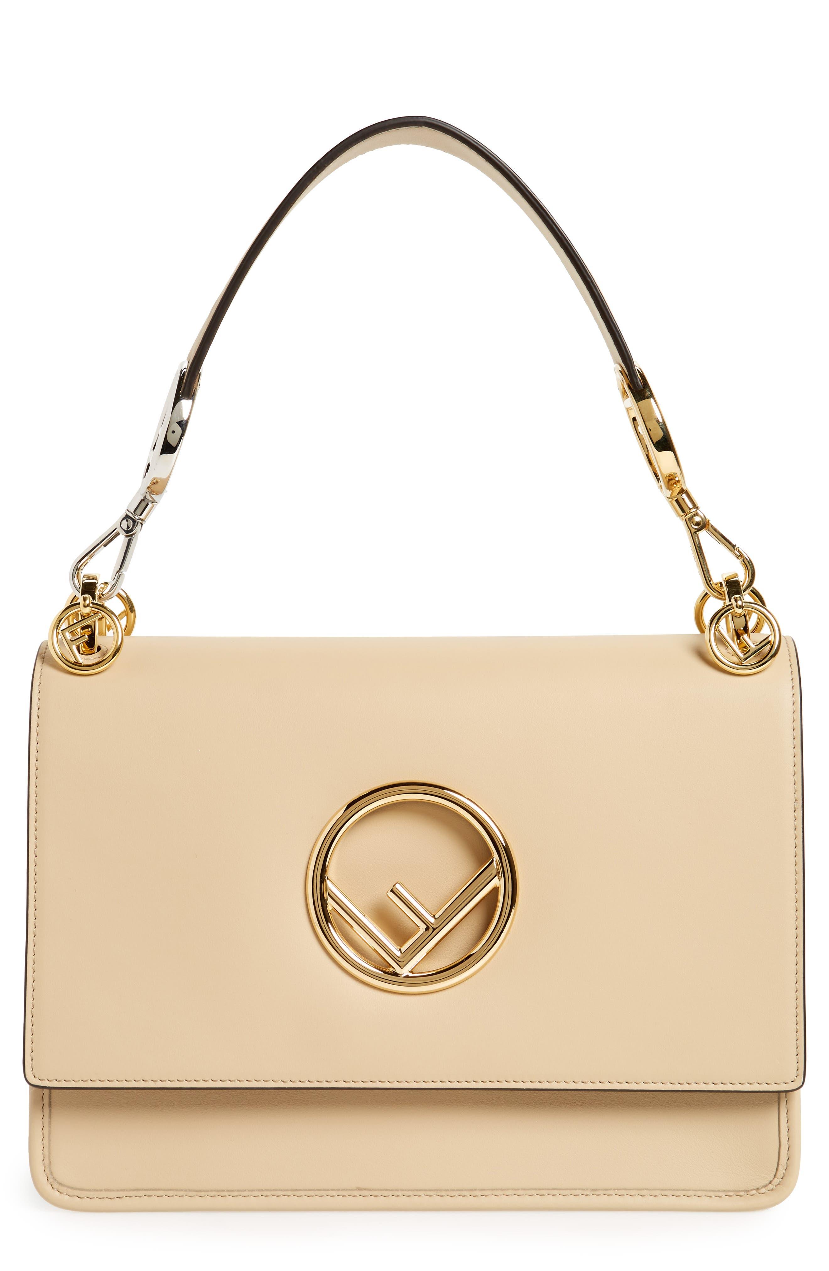 Kan I Calfskin Leather Shoulder Bag,                         Main,                         color, Beige