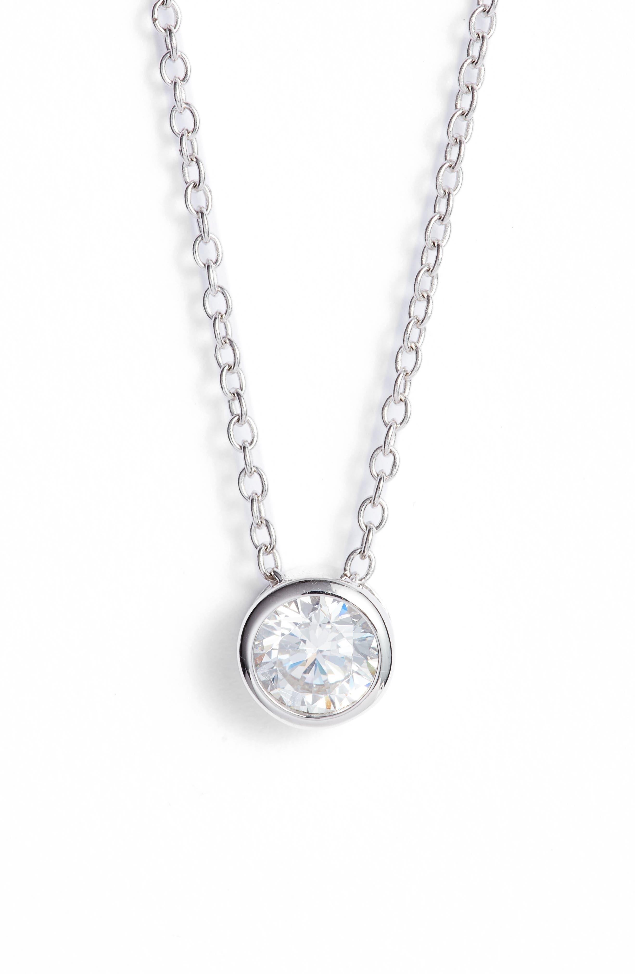 0.5 ct tw Cubic Zirconia Pendant Necklace,                             Main thumbnail 1, color,                             Platinum