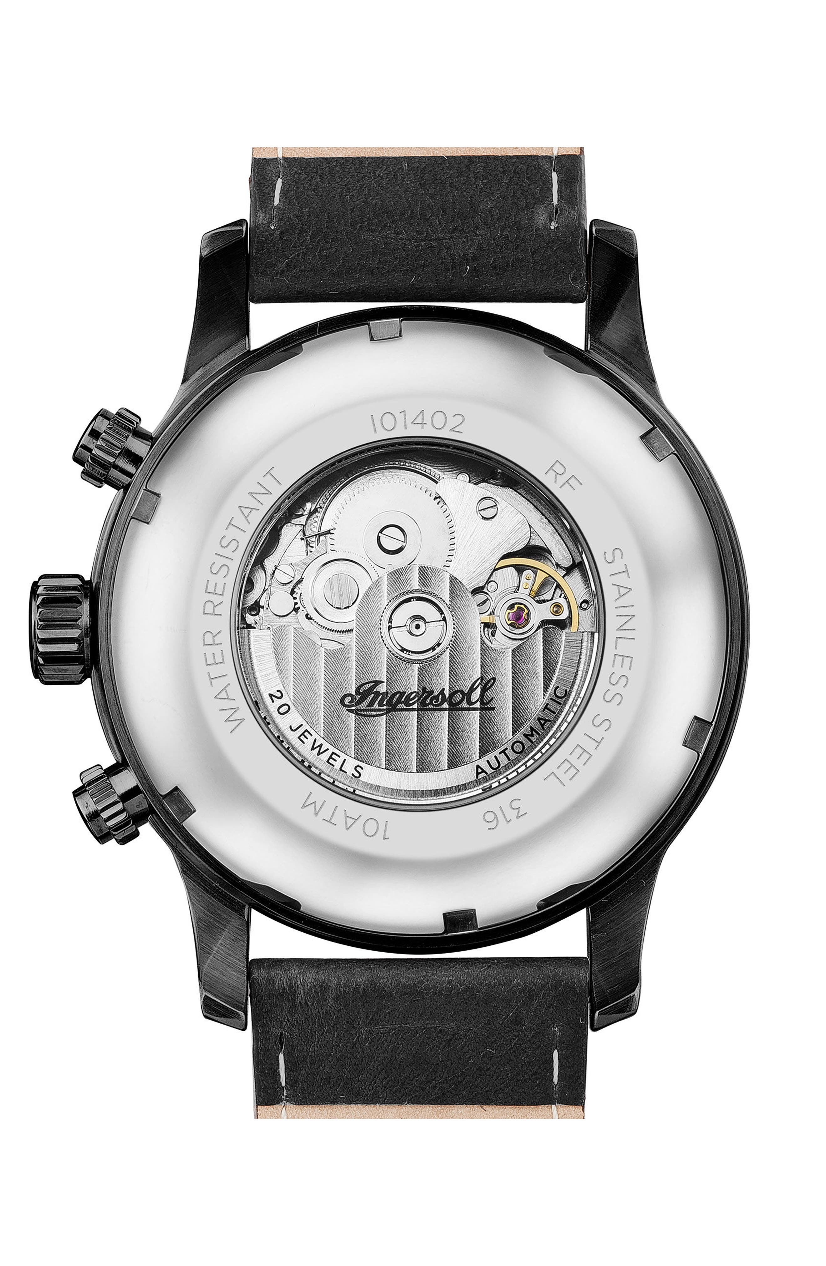 Ingersoll Hatton Automatic Multifunction Leather Strap Watch, 47mm,                             Alternate thumbnail 2, color,                             Black