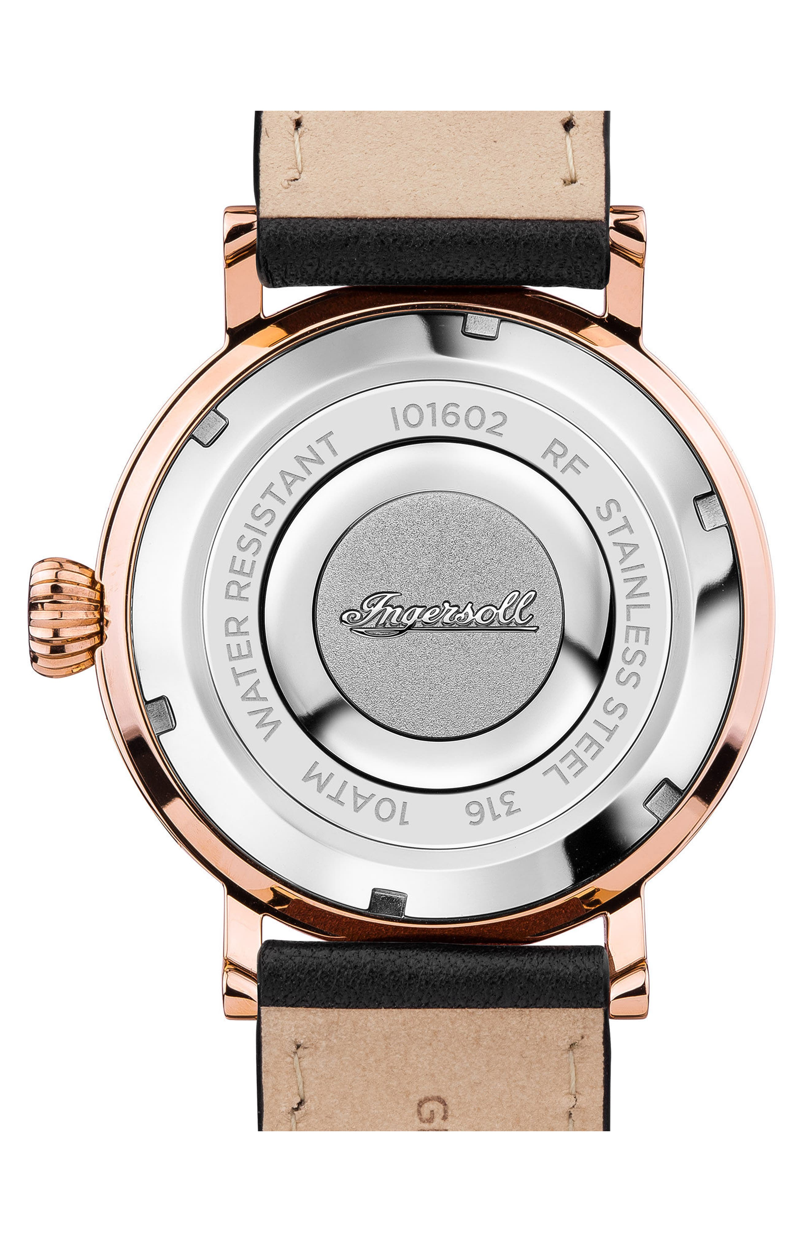 Ingersoll St. John Moonphase Leather Strap Watch, 44mm,                             Alternate thumbnail 2, color,                             Black/ Rose Gold