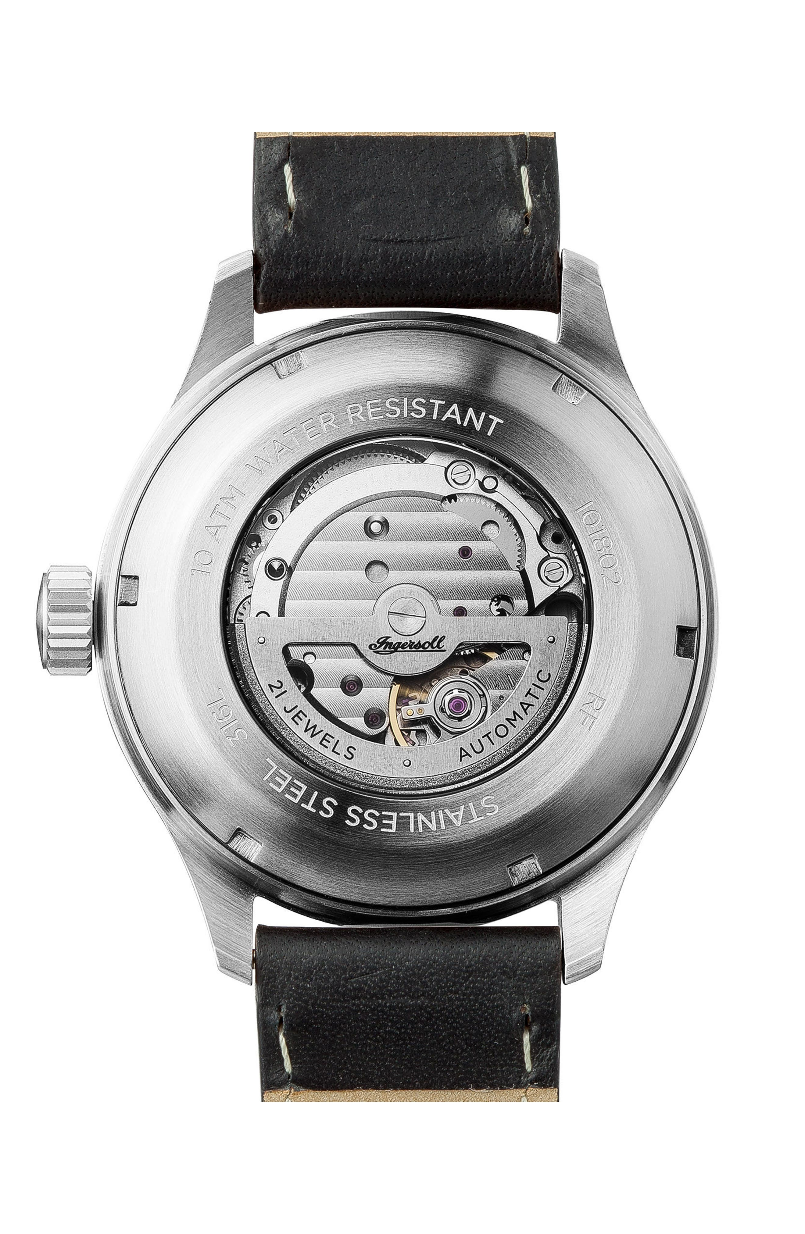 Ingersoll Bateman Automatic Leather Strap Watch, 45mm,                             Alternate thumbnail 2, color,                             Black/ Silver