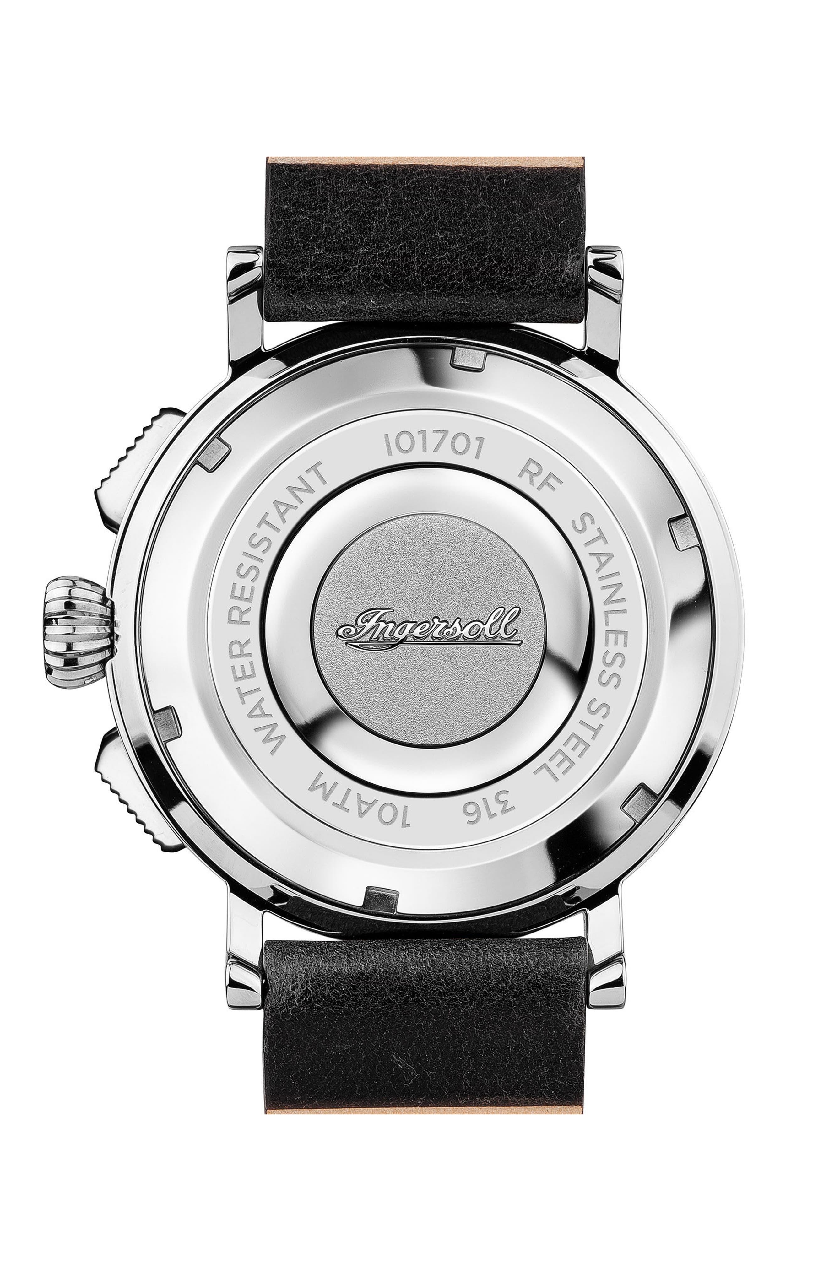 Alternate Image 2  - Ingersoll St. John Chronograph Leather Strap Watch, 44mm