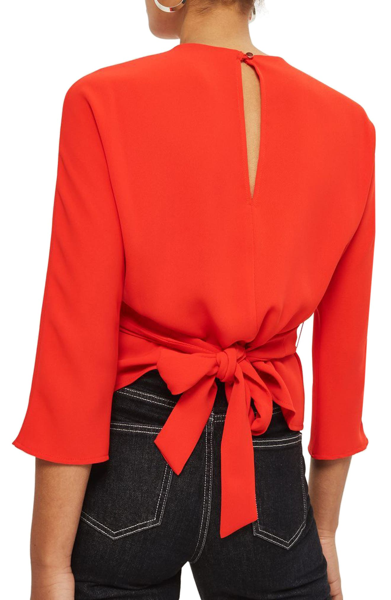 Wrap Waist Top,                             Alternate thumbnail 3, color,                             Red