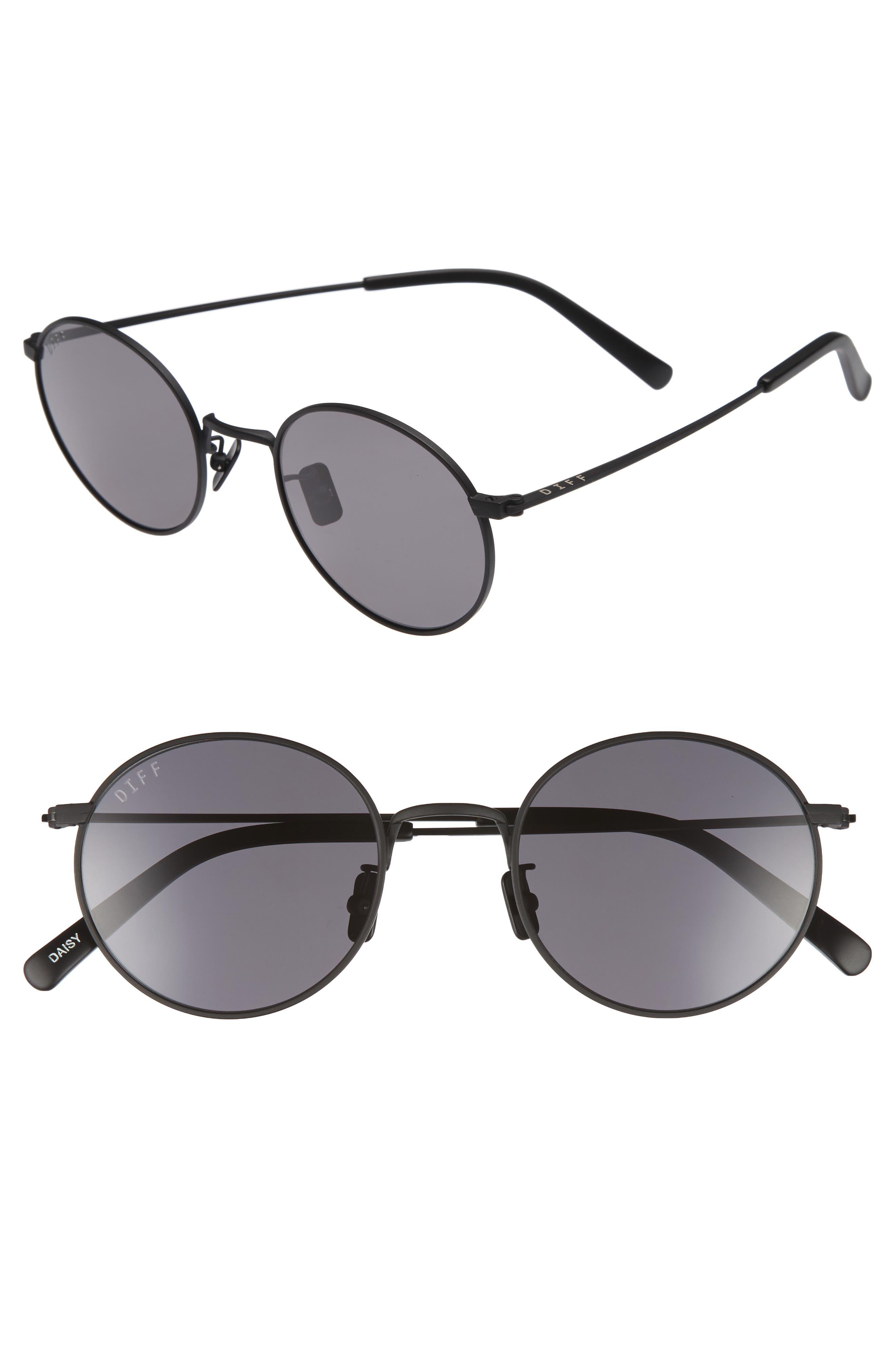 Daisy 51mm Round Sunglasses,                             Main thumbnail 1, color,                             Matte Black/ Grey