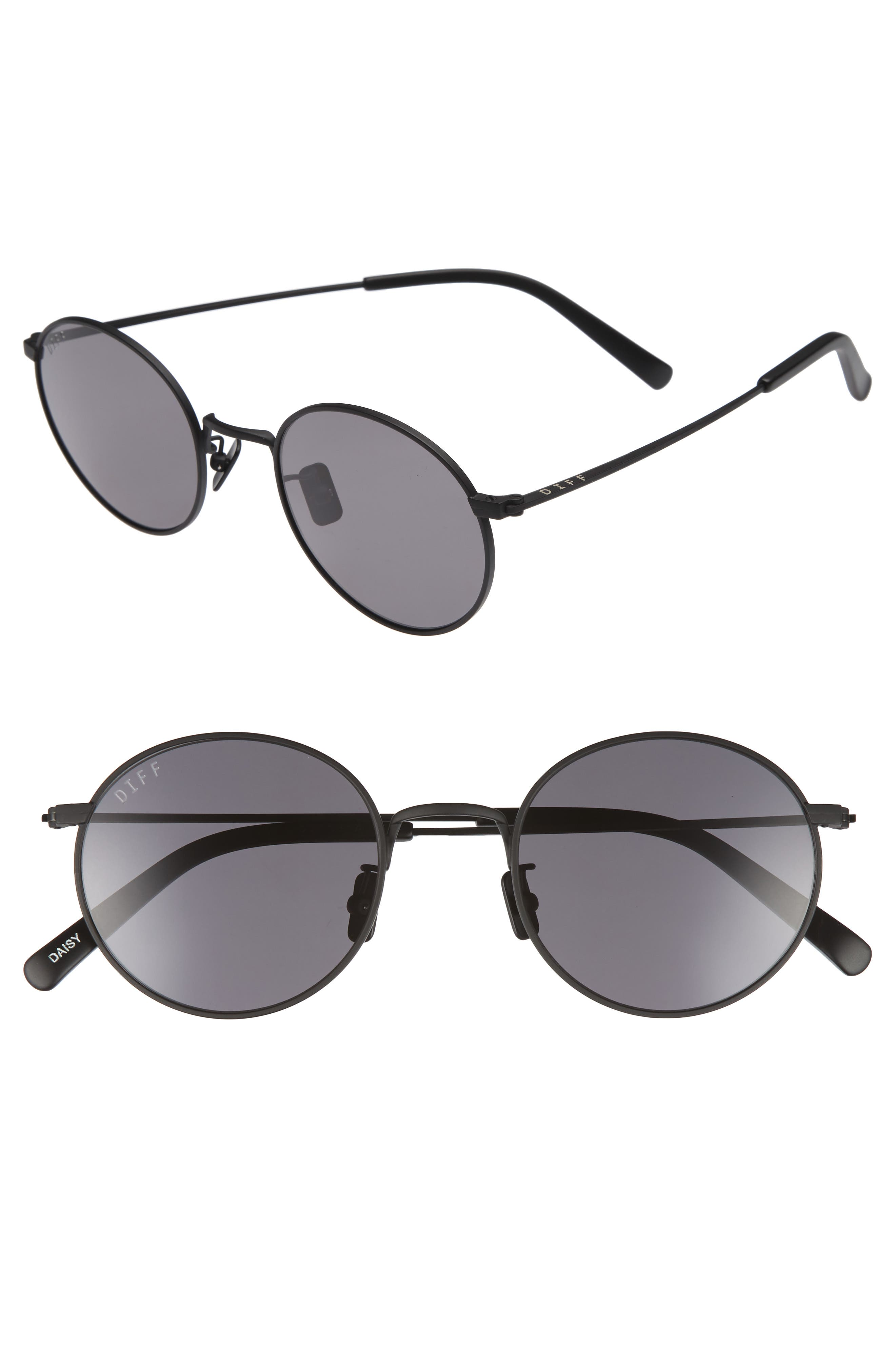 Daisy 51mm Round Sunglasses,                         Main,                         color, Matte Black/ Grey