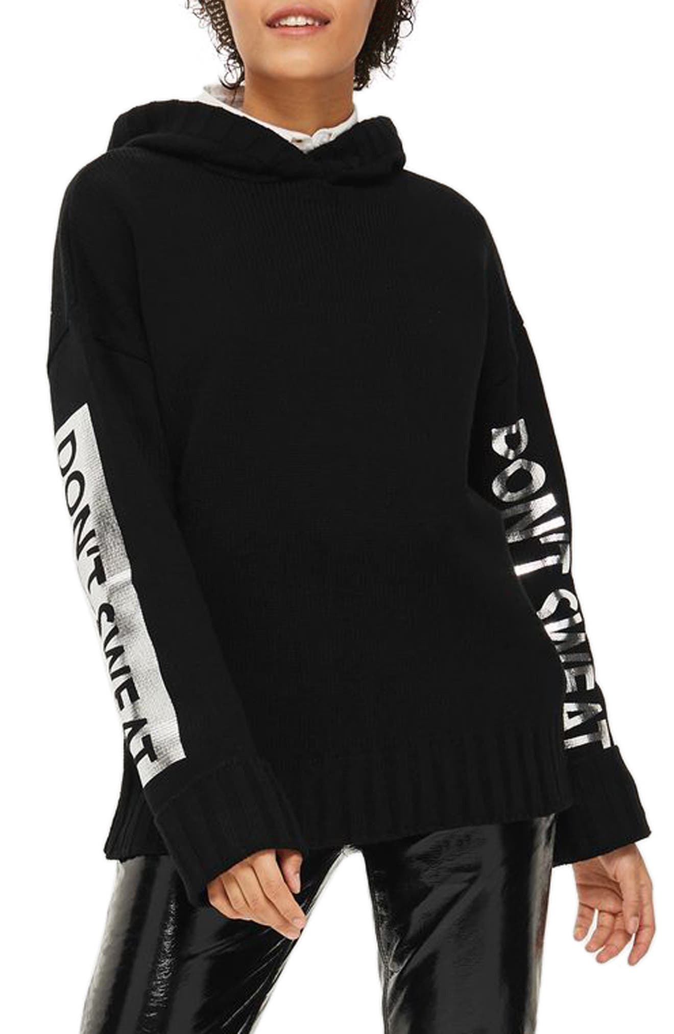 Don't Sweat Knit Hoodie,                         Main,                         color, Black Multi