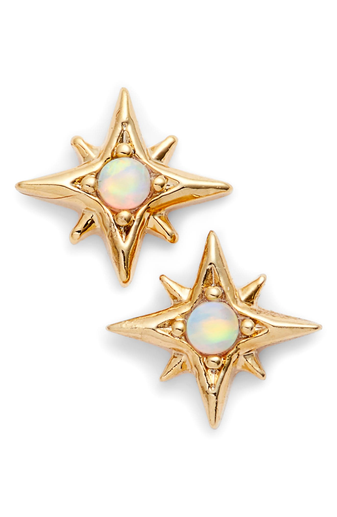 Sydee Cubic Zirconia Stud Earrings,                         Main,                         color, Opal/ Gold