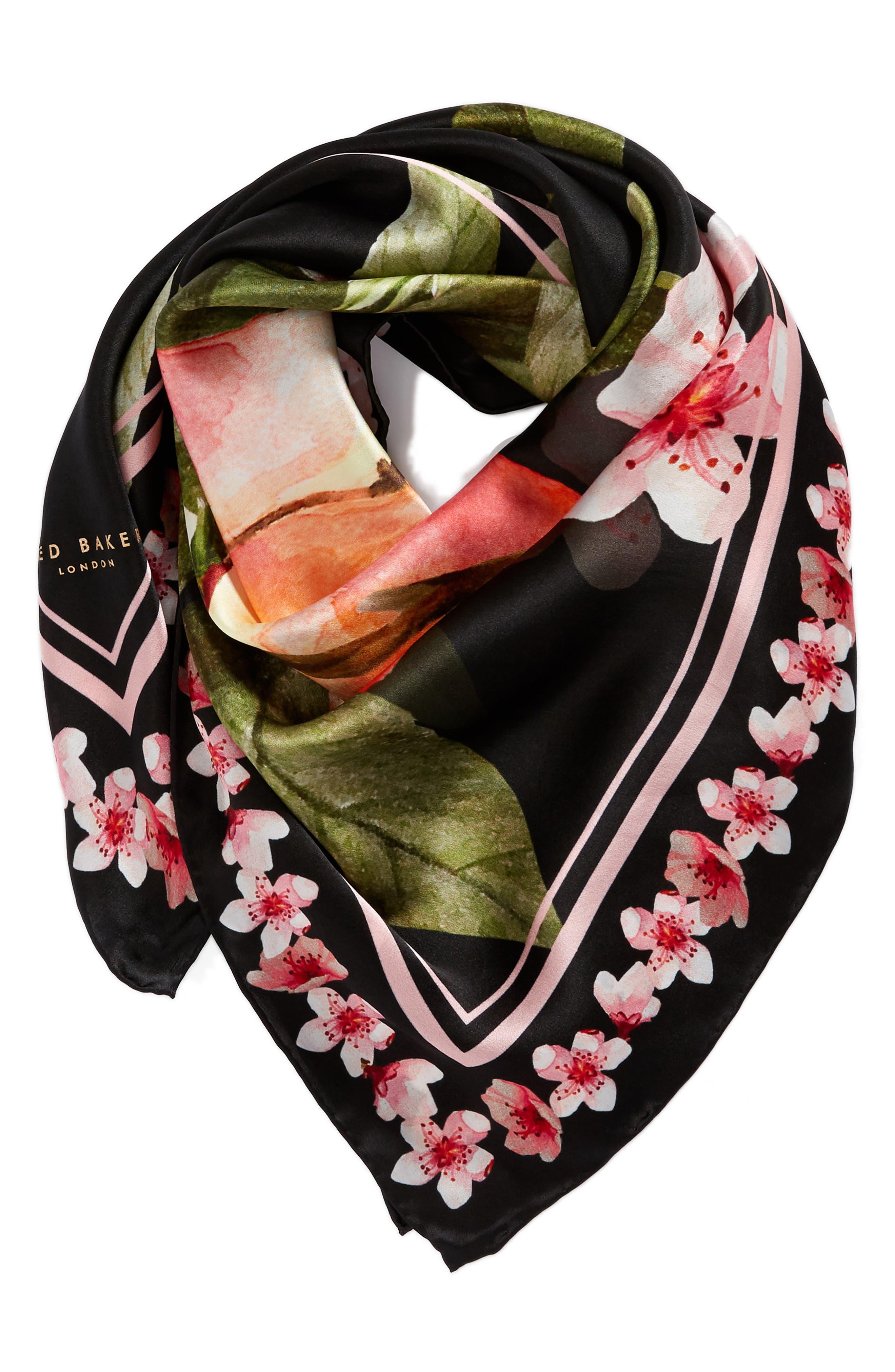 Peach Blossom Square Silk Scarf,                             Alternate thumbnail 3, color,                             00-Black
