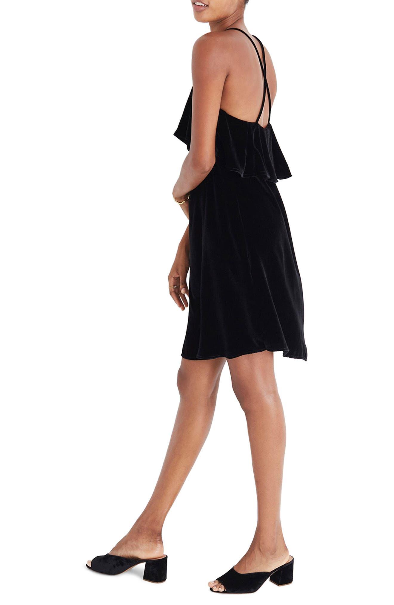 Ruffle Velvet Minidress,                             Alternate thumbnail 3, color,                             True Black