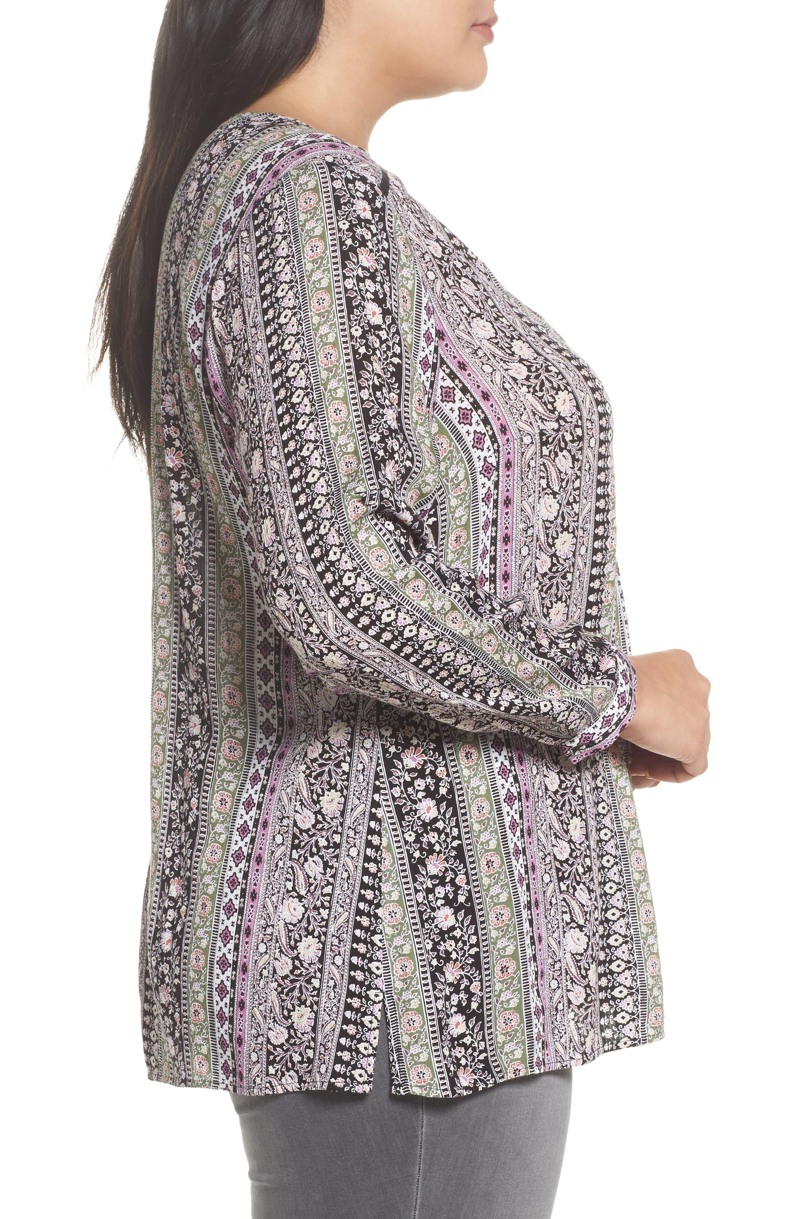 Alternate Image 3  - Daniel Rainn Embroidered Trim Floral Stripe Top (Plus Size)