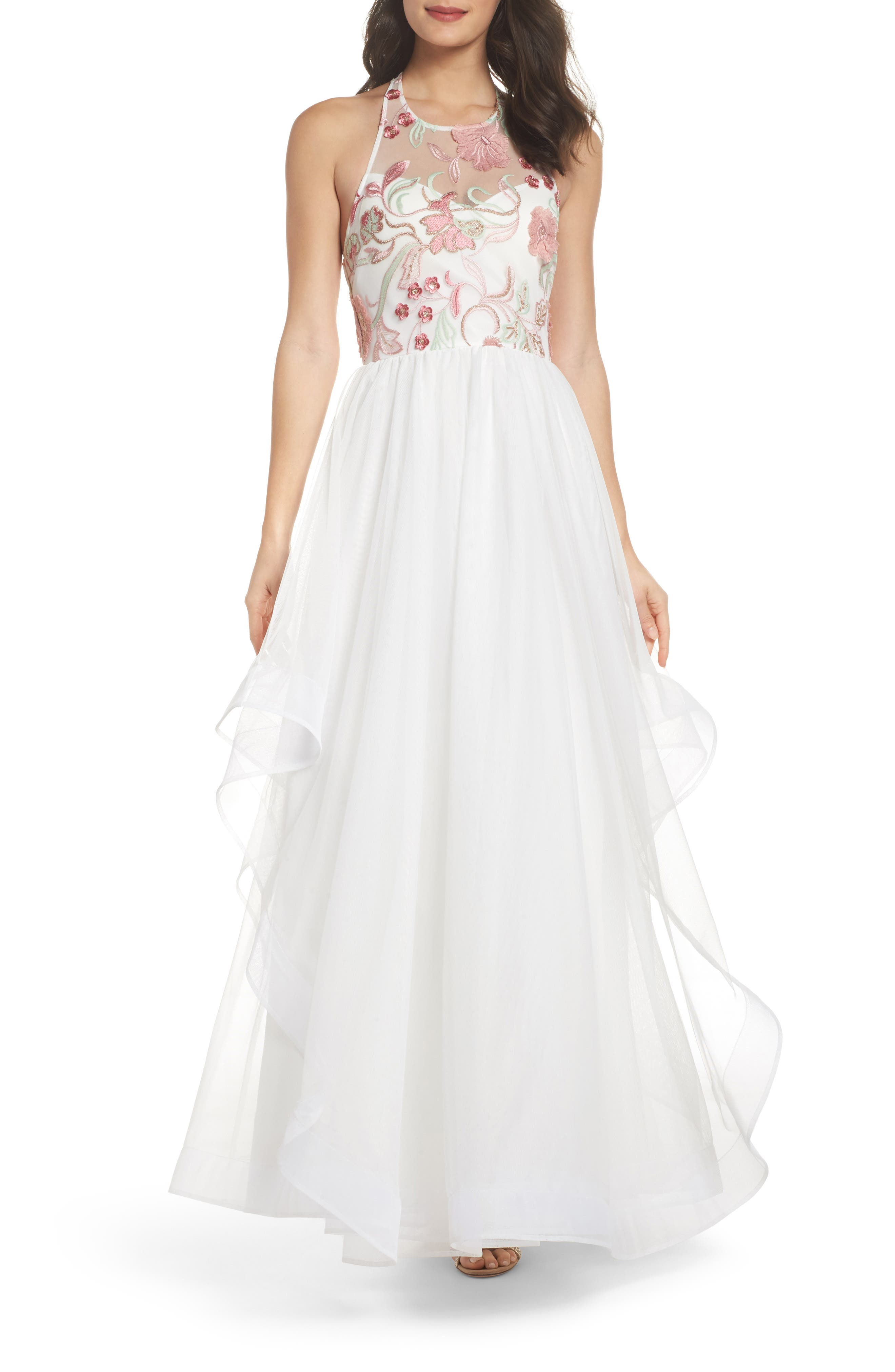 Embroidered Mesh & Tulle Halter Gown,                         Main,                         color, Ivory/ Blush