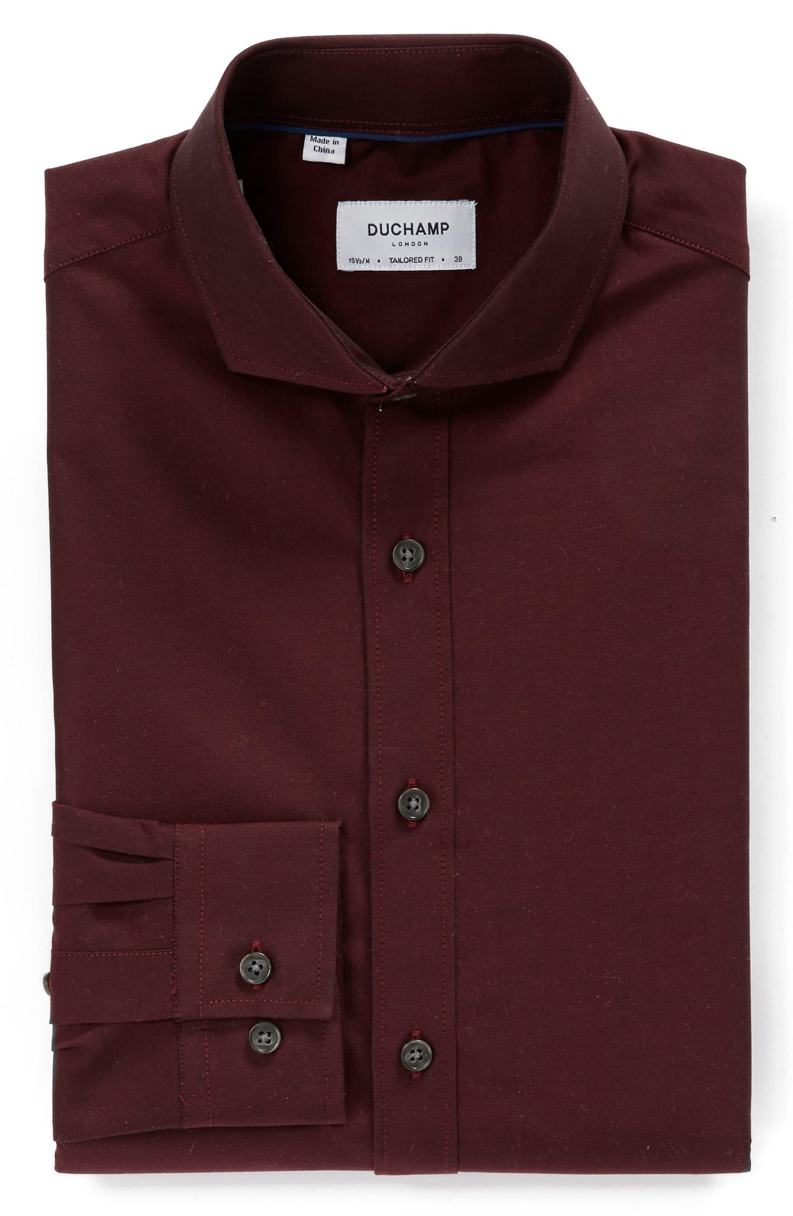 Trim Fit Solid Dress Shirt,                             Alternate thumbnail 4, color,                             Burgundy