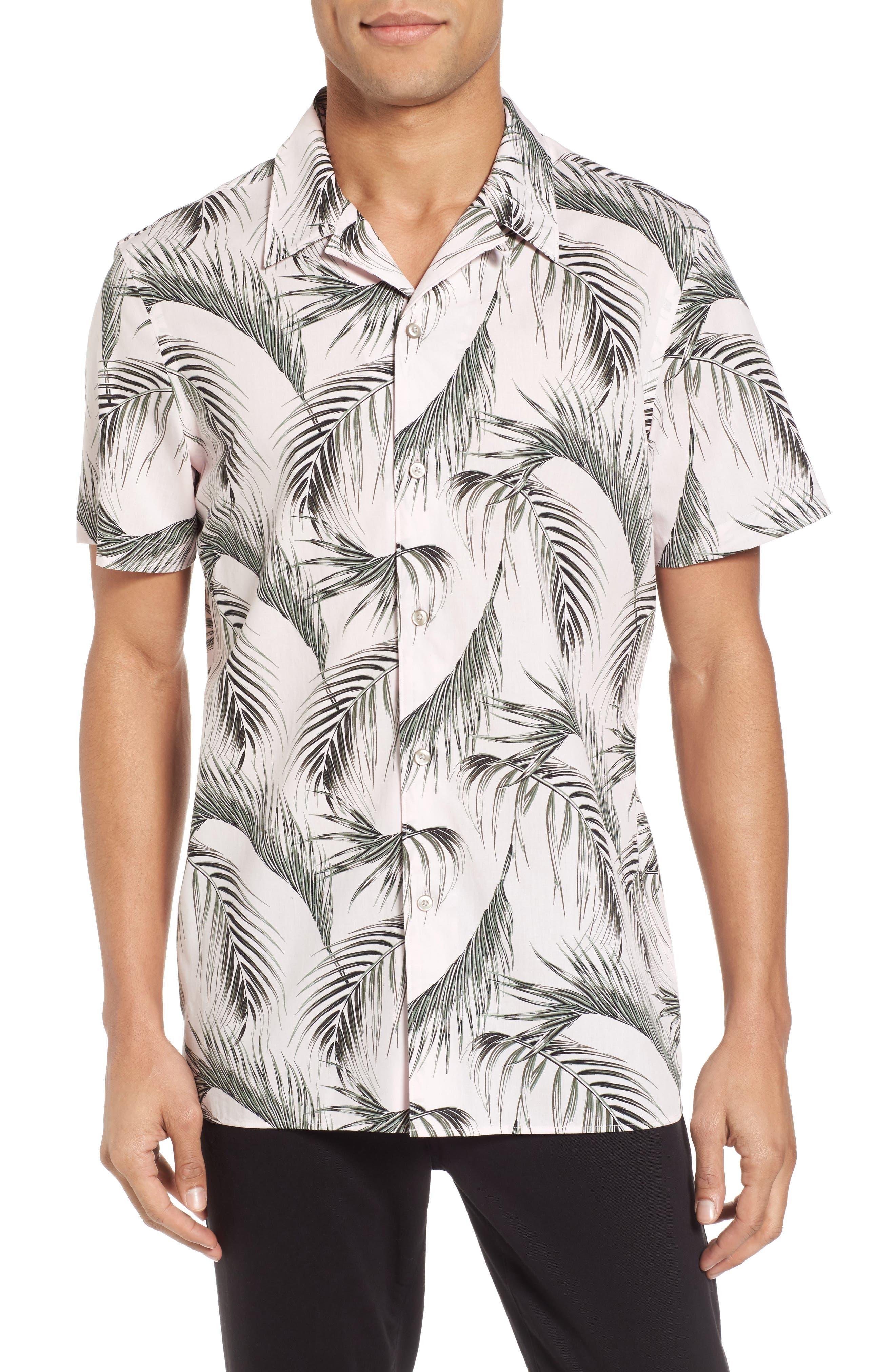 Slim Fit Short Sleeve Print Camp Shirt,                         Main,                         color, Pink Pretty Palms