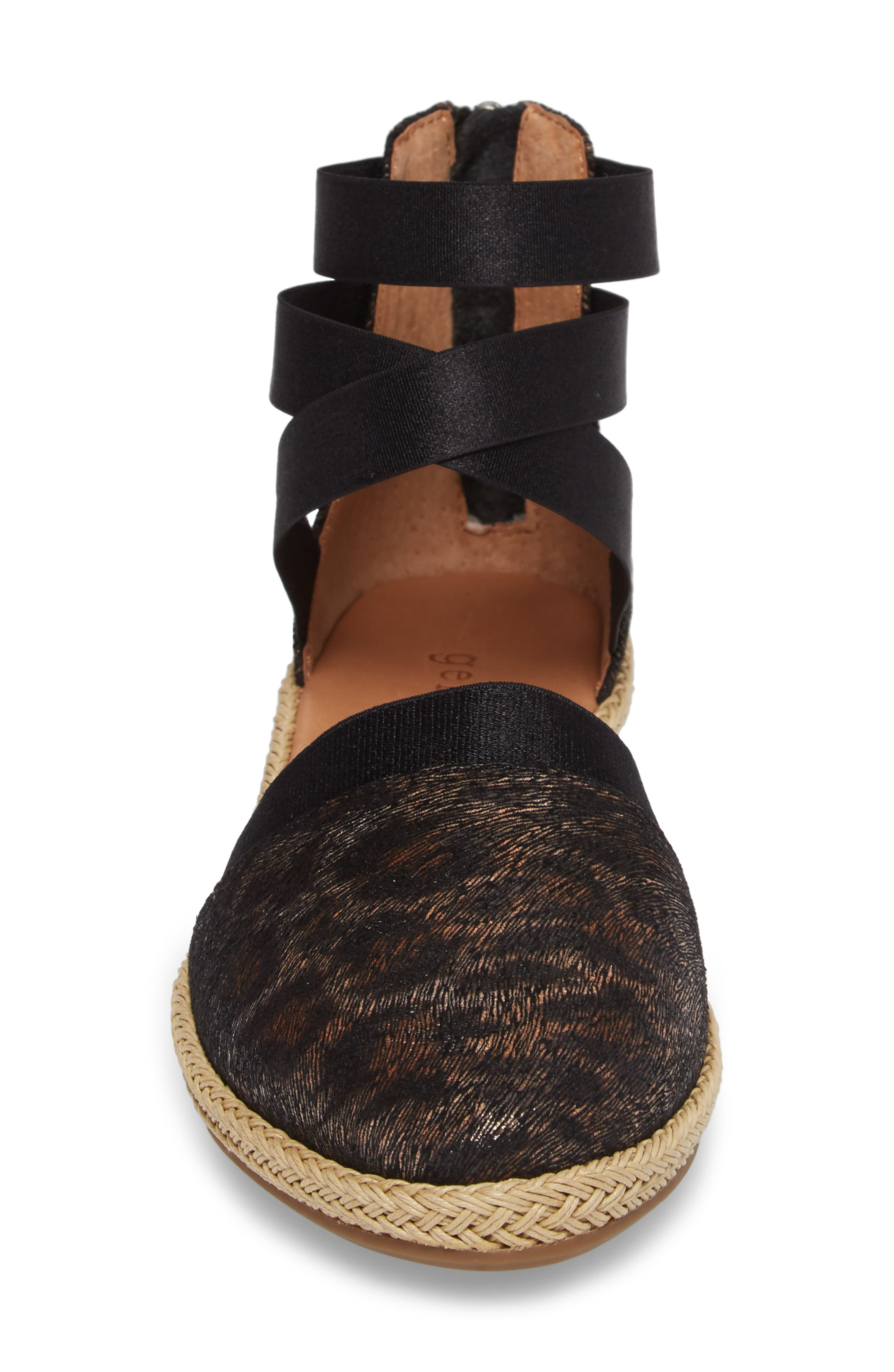 by Kenneth Cole Beth Espadrille Sandal,                             Alternate thumbnail 4, color,                             Black Leopard Printed Leather