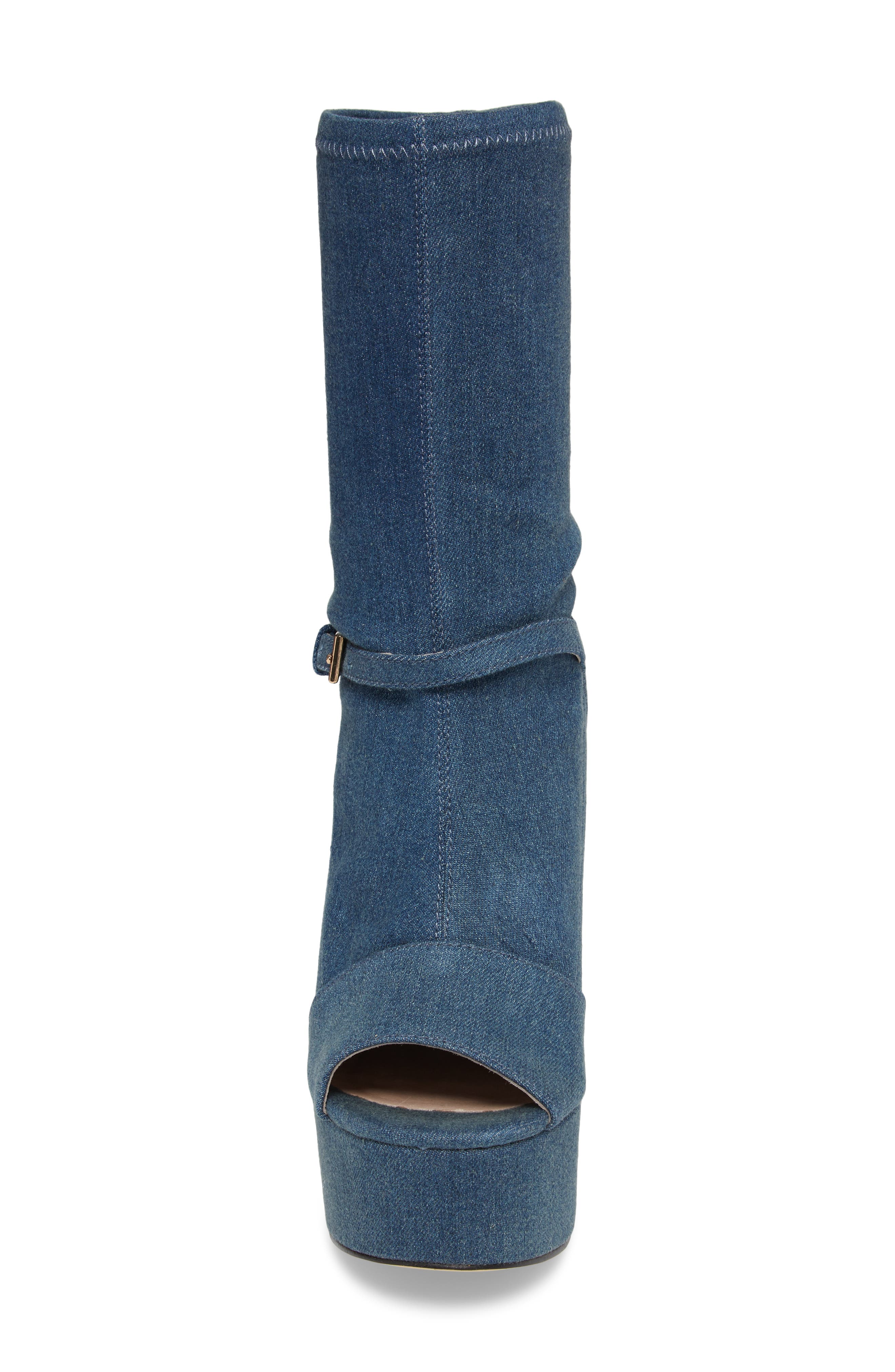 Haimi Sequin Sock Bootie,                             Alternate thumbnail 4, color,                             Denim