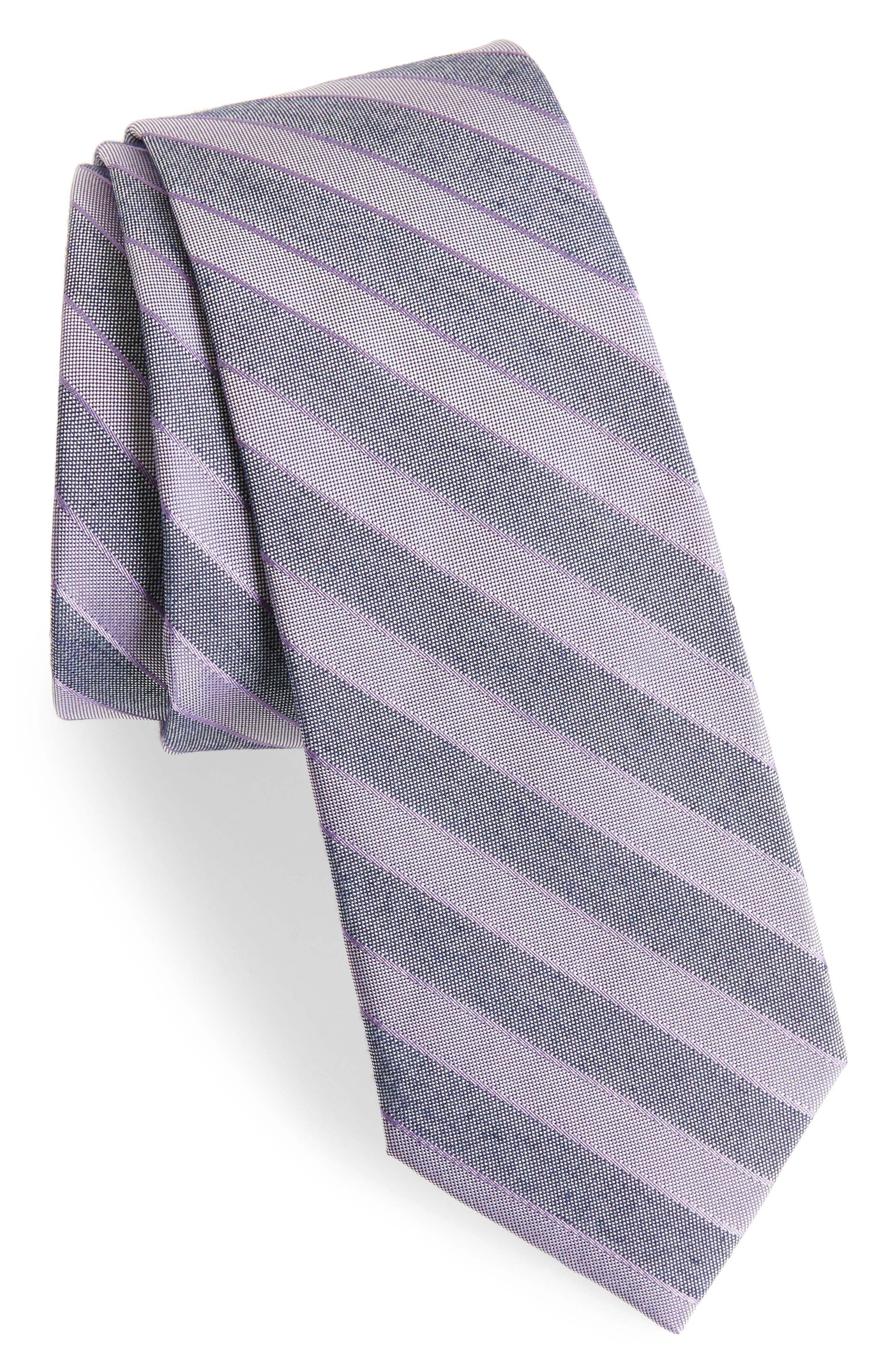 Stripe Silk Blend Skinny Tie,                             Main thumbnail 1, color,                             Purple