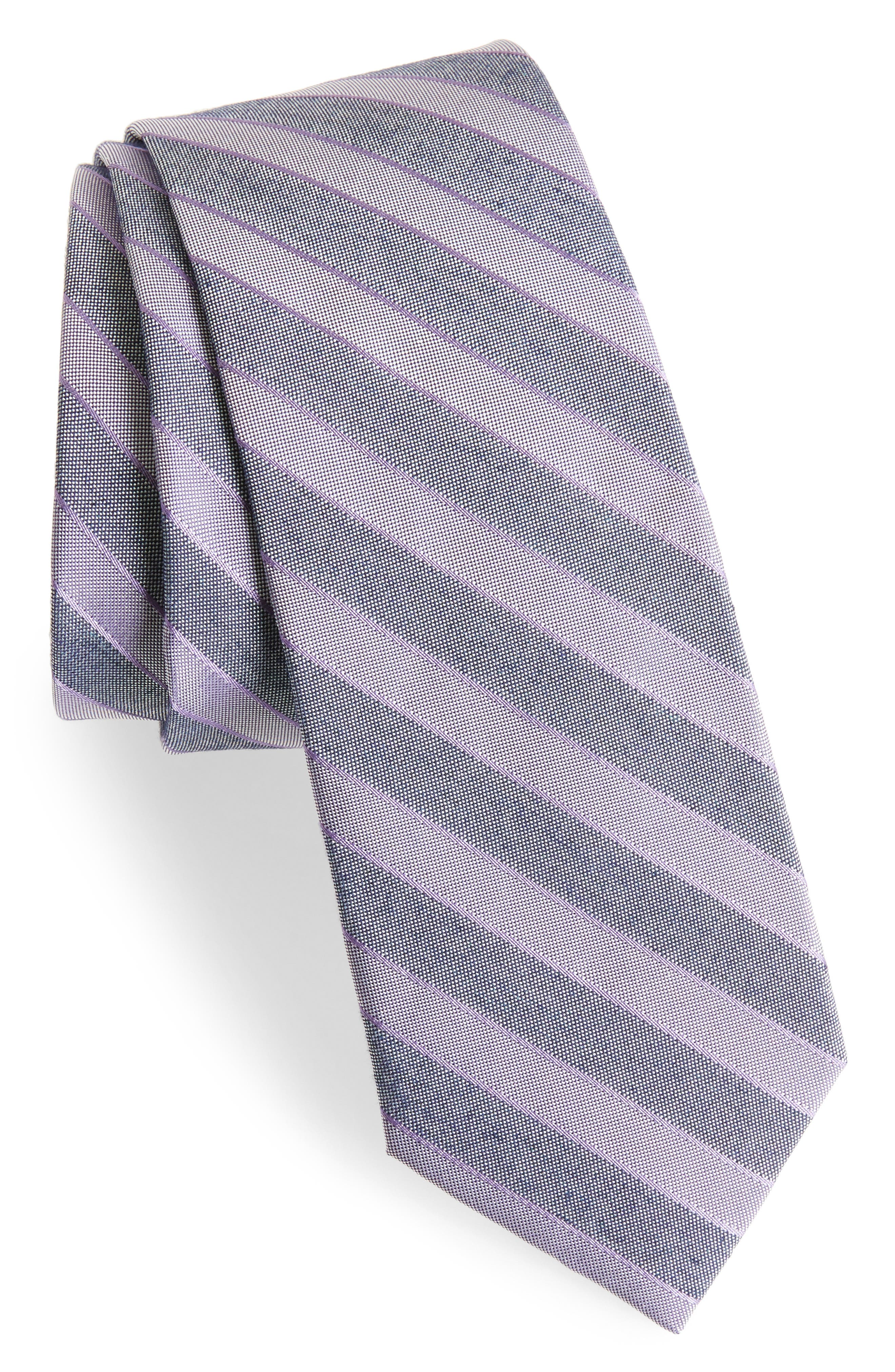 Stripe Silk Blend Skinny Tie,                         Main,                         color, Purple