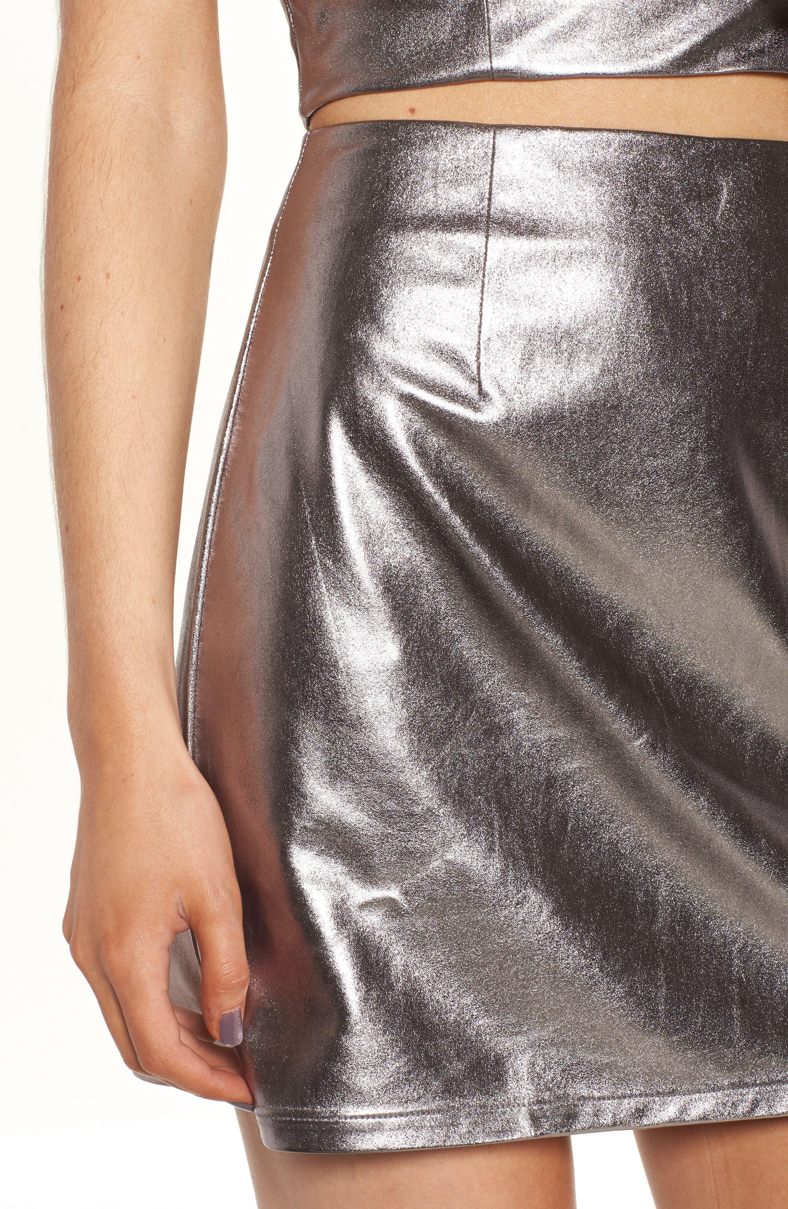 Alternate Image 4  - Lovers+ Friends Back to Basics Silver Miniskirt