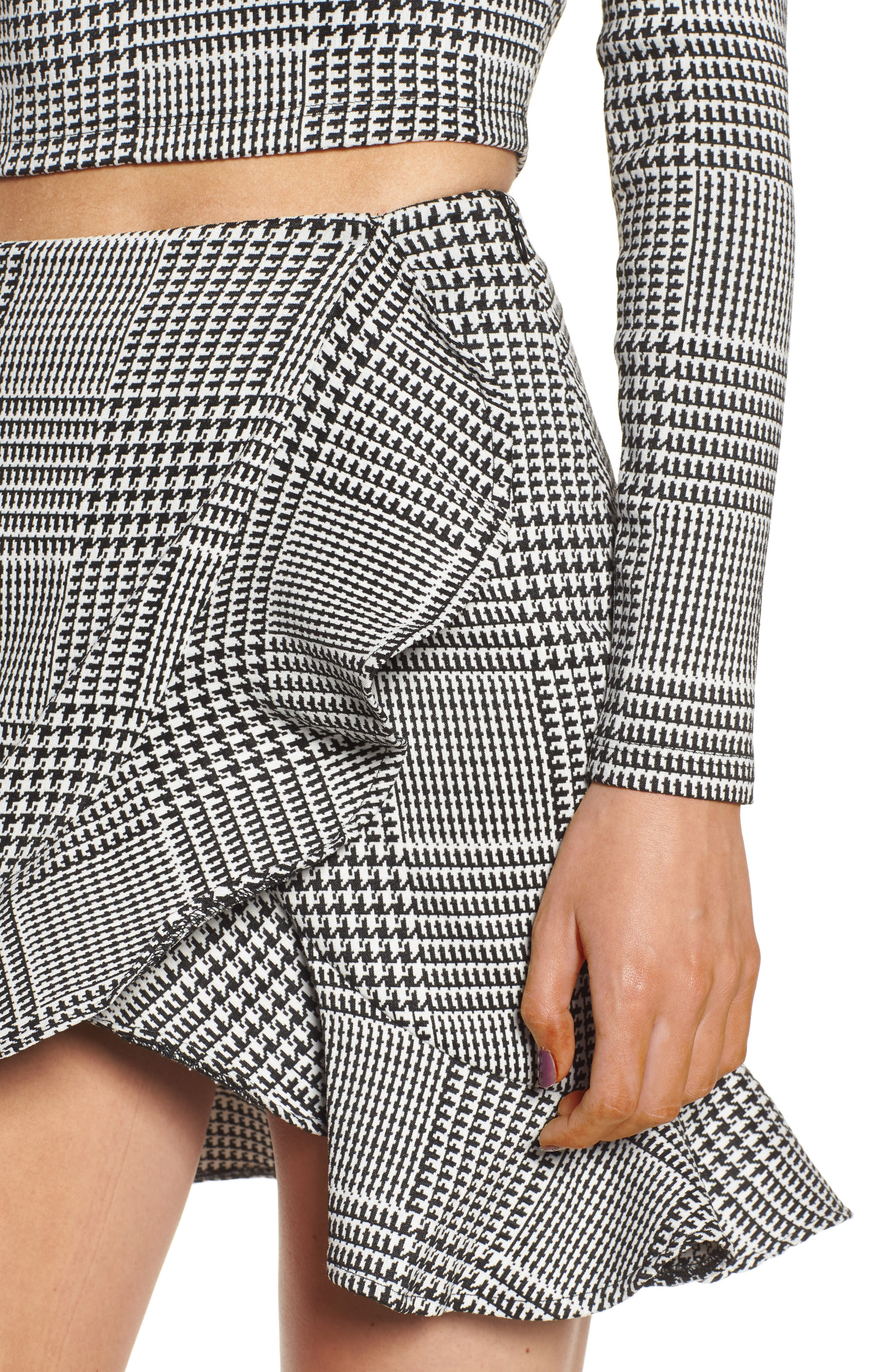Affection Ruffle Houndstooth Skirt,                             Alternate thumbnail 5, color,                             Houndstooth Plaid