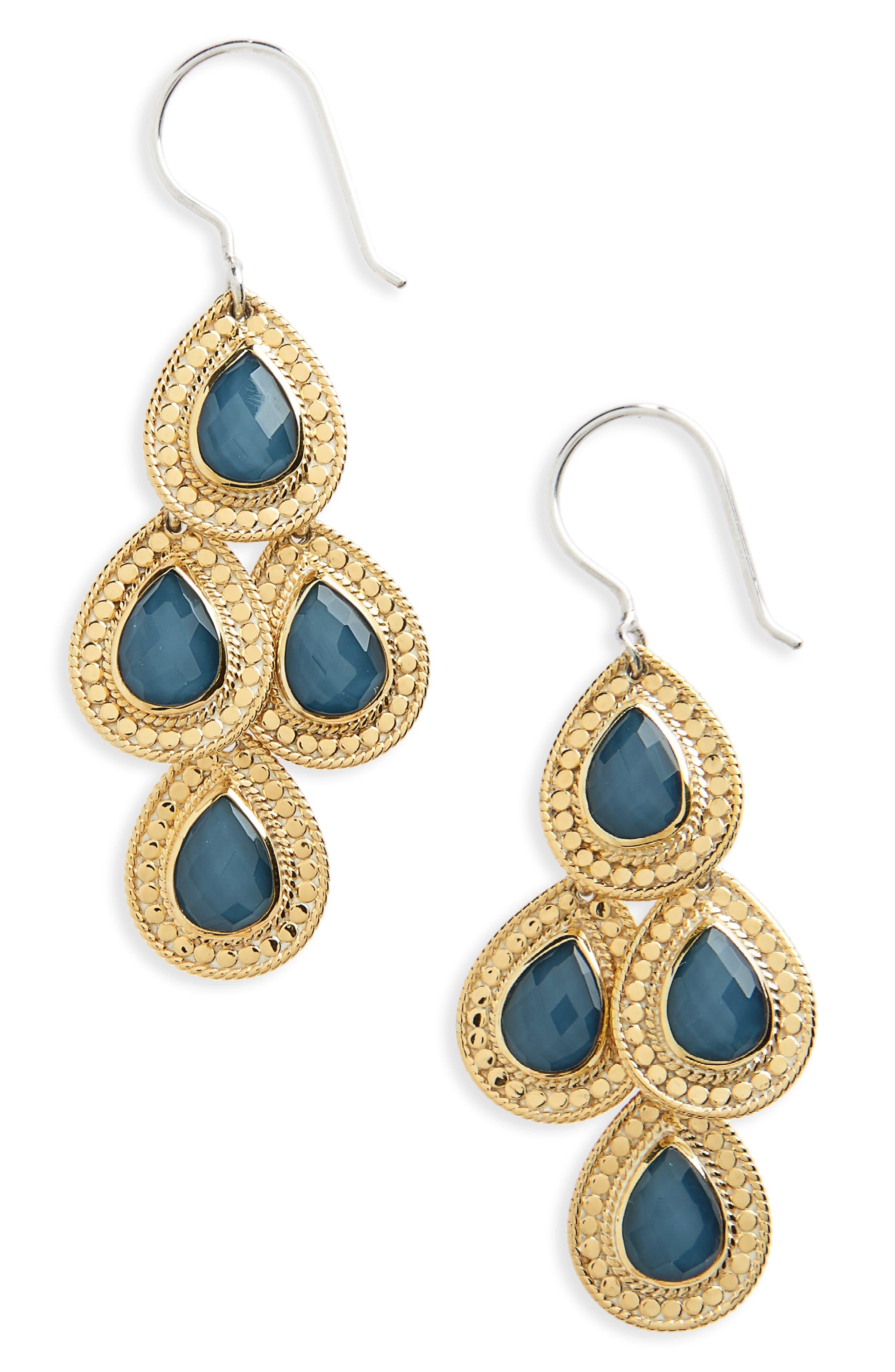 Stone Chandelier Earrings,                         Main,                         color, Gold/ Silver/ Blue Topaz