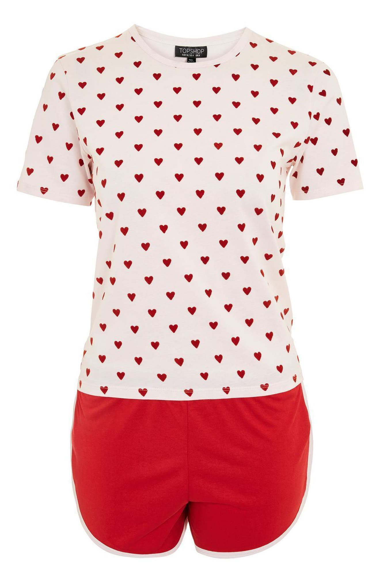 Flocked Heart Pajamas,                             Alternate thumbnail 3, color,                             Red Multi