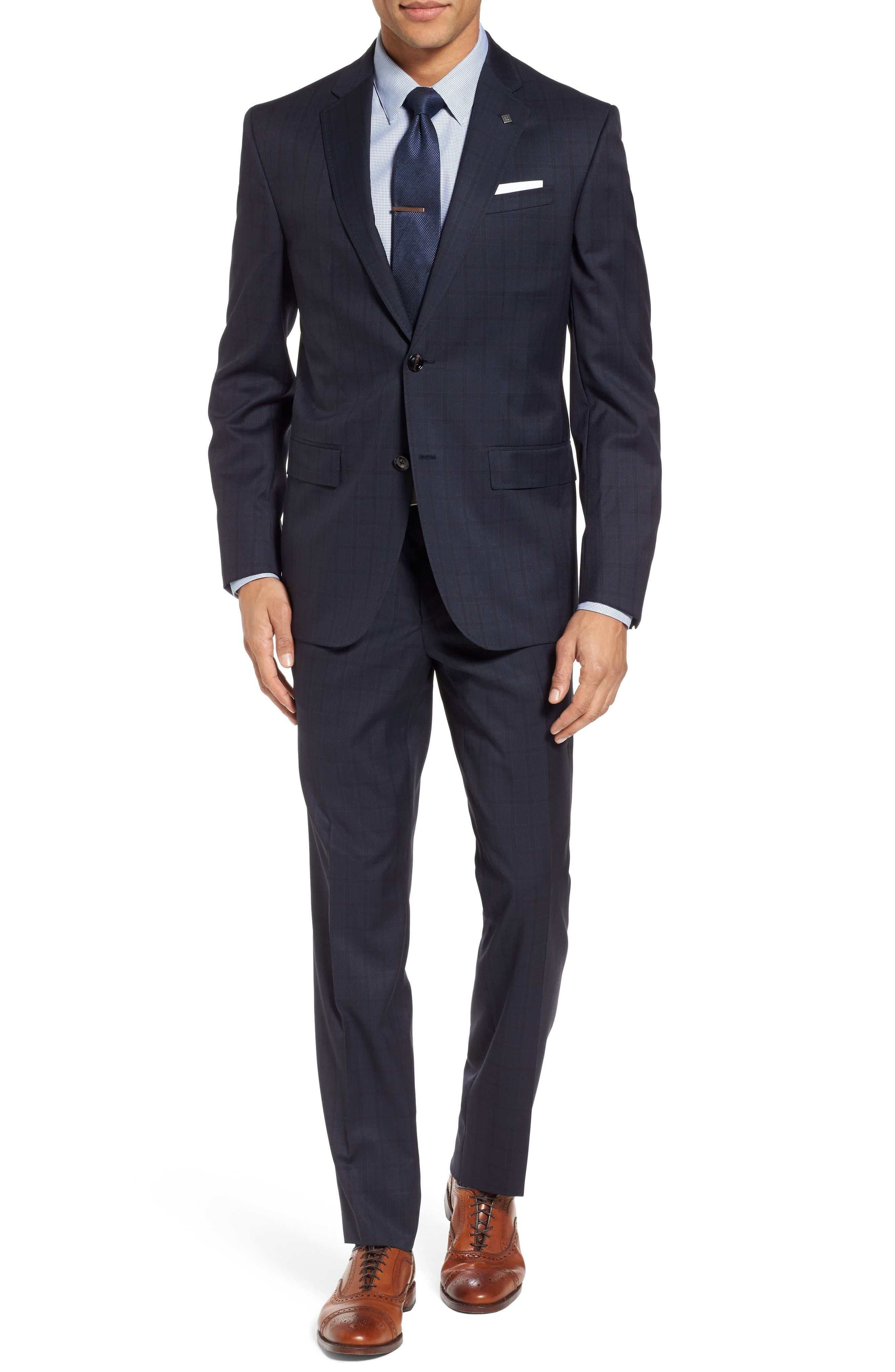 Jay Trim Fit Check Wool Suit,                         Main,                         color, Navy