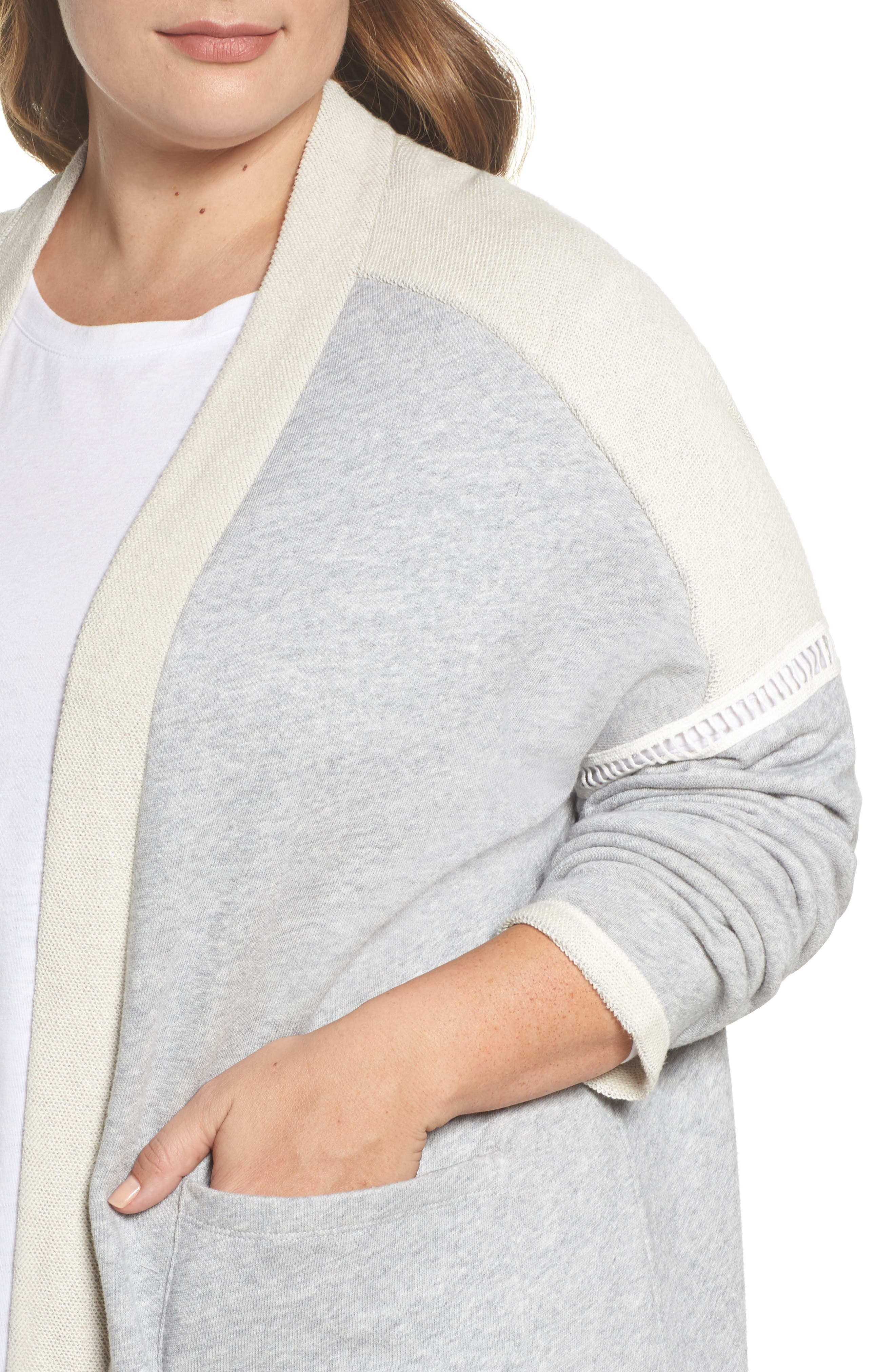French Terry Cardigan,                             Alternate thumbnail 4, color,                             Grey Heather