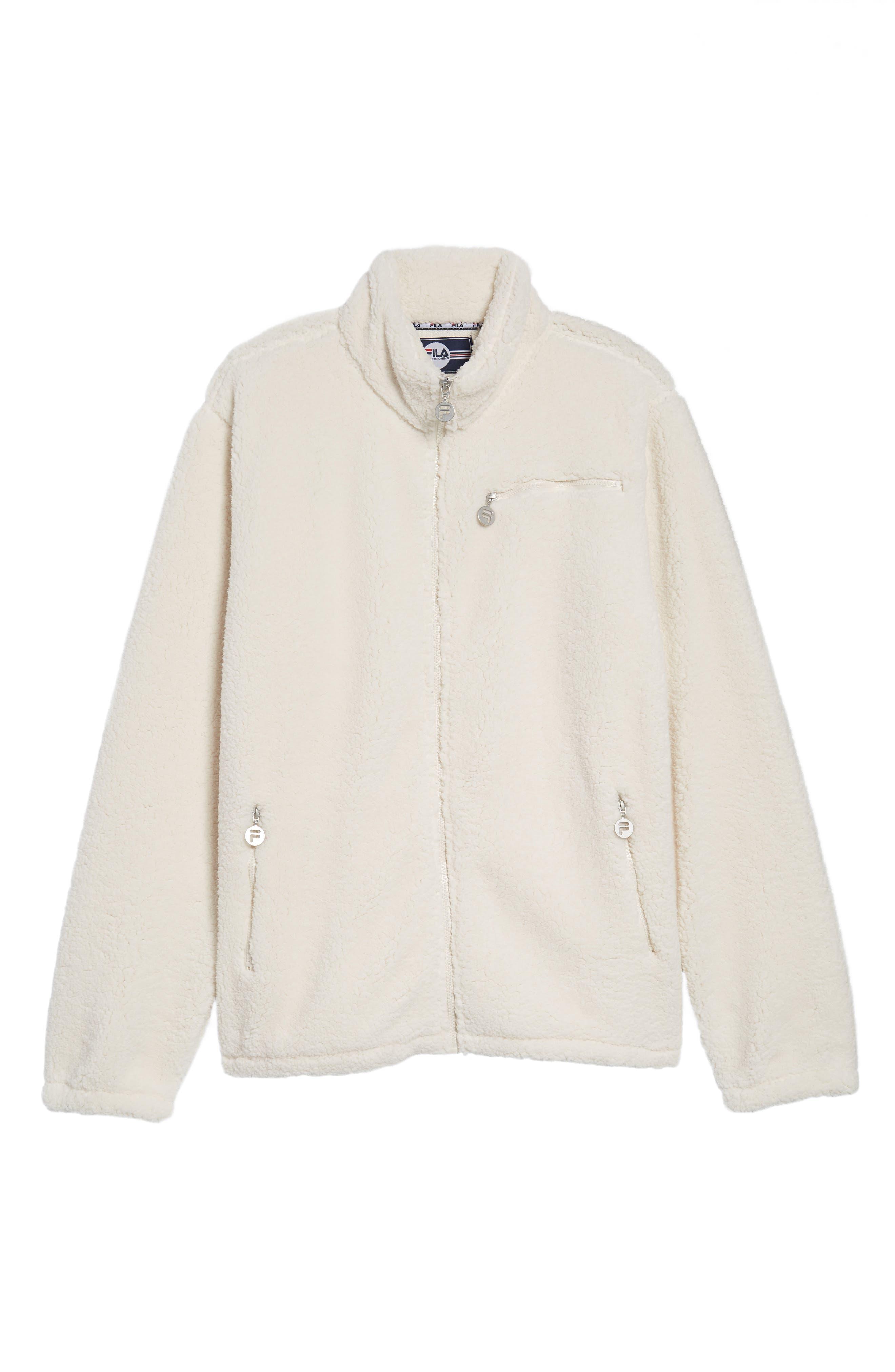 Finlay Fleece Jacket,                             Alternate thumbnail 6, color,                             Gardenia/ Navy/ Chinese Red