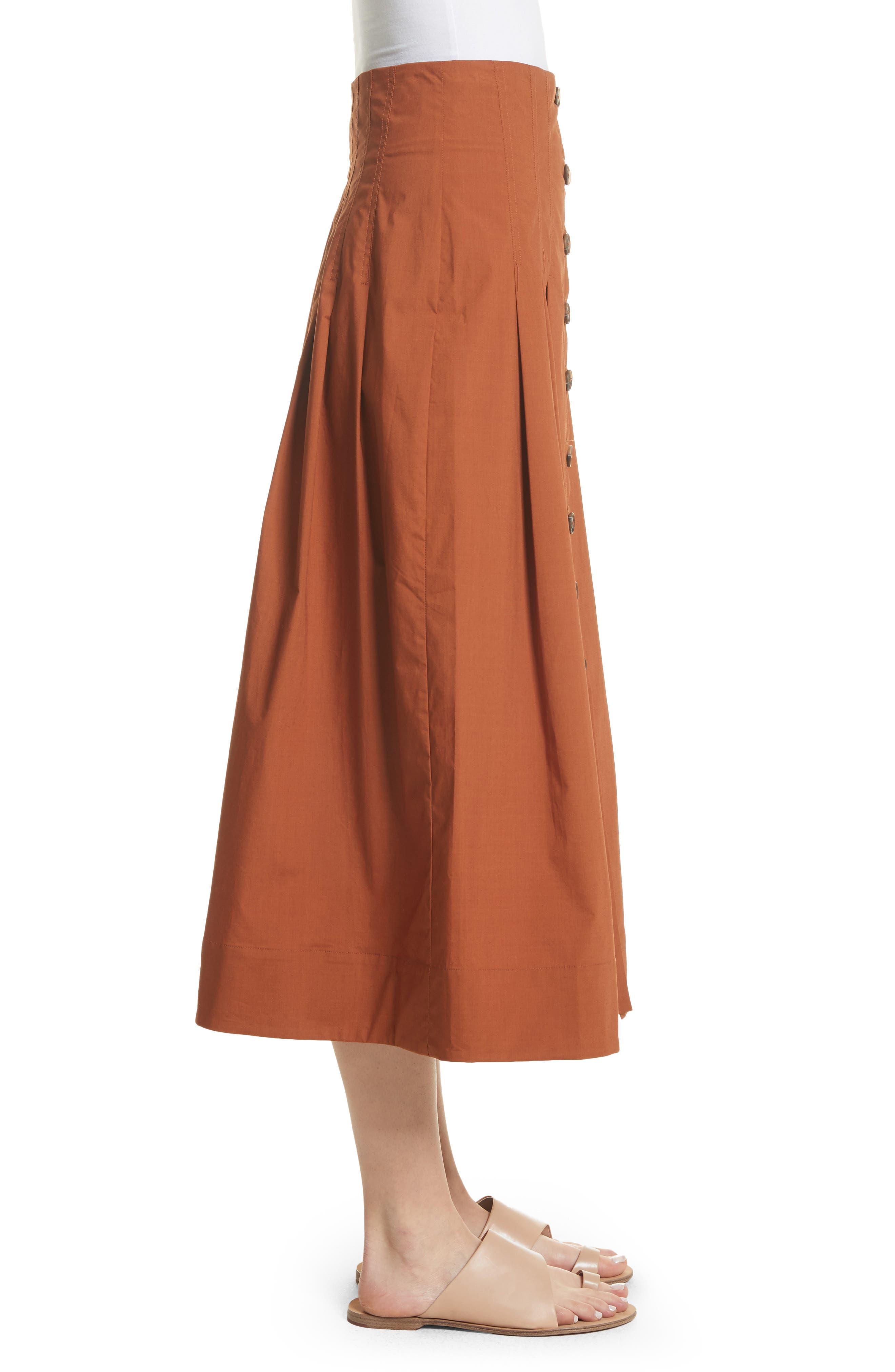 Azalia Button Front Poplin Midi Skirt,                             Alternate thumbnail 3, color,                             Walnut