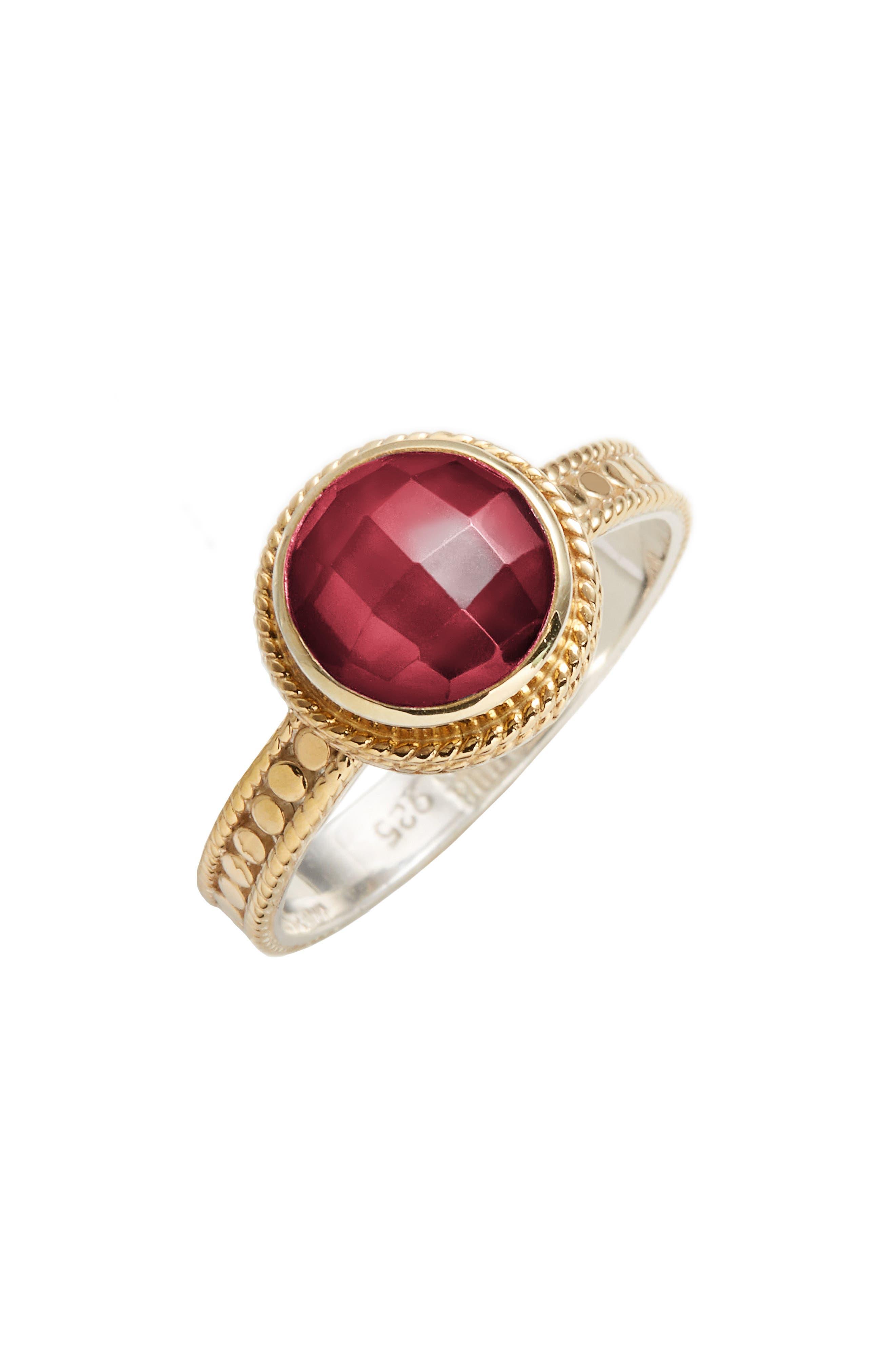 Semiprecious Stone Ring,                         Main,                         color, Gold/ Silver/ Garnet